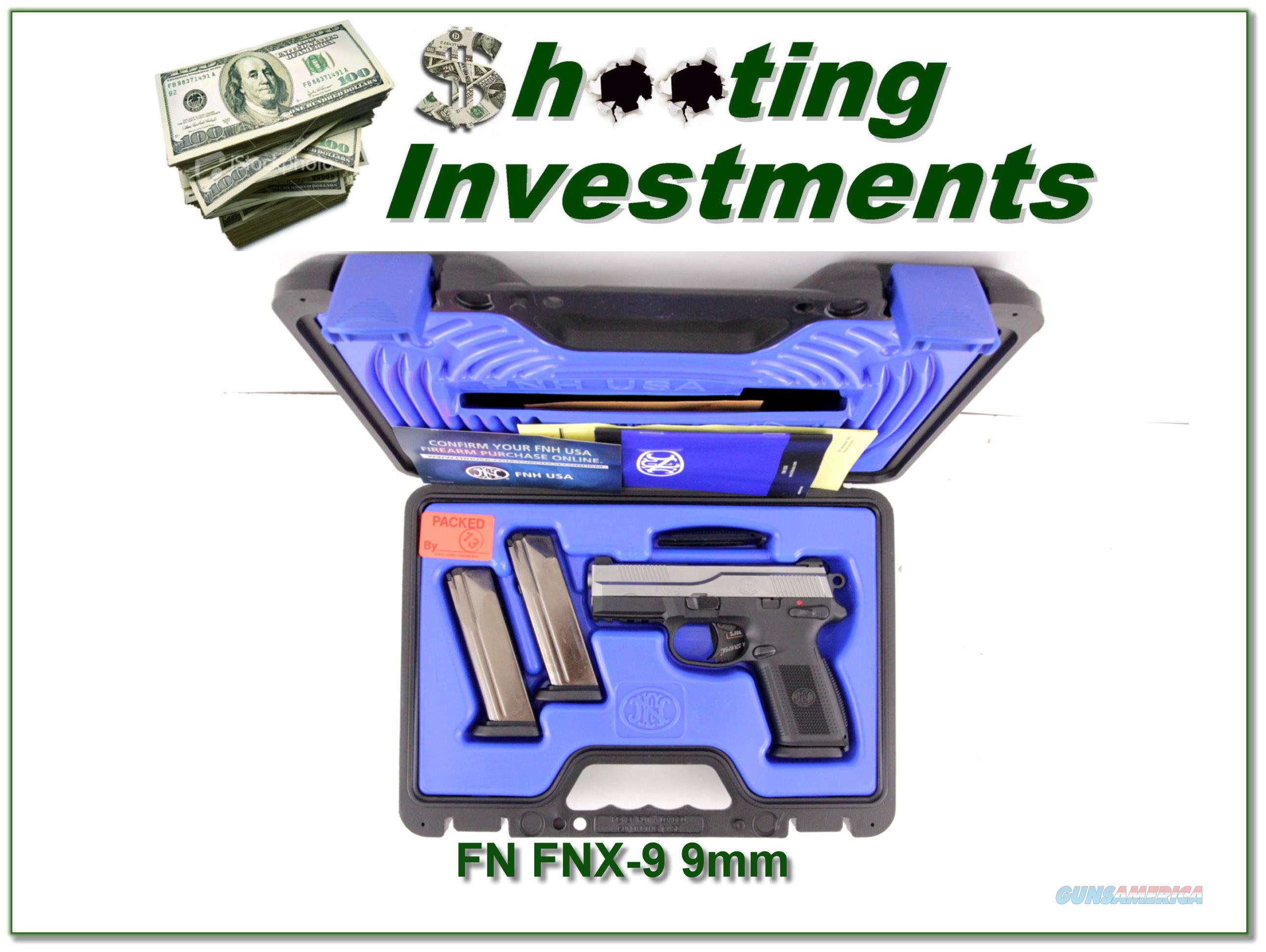 FN FNX-9 9mm unfired Night Sights in case 3 magazines!  Guns > Pistols > FNH - Fabrique Nationale (FN) Pistols > FNX