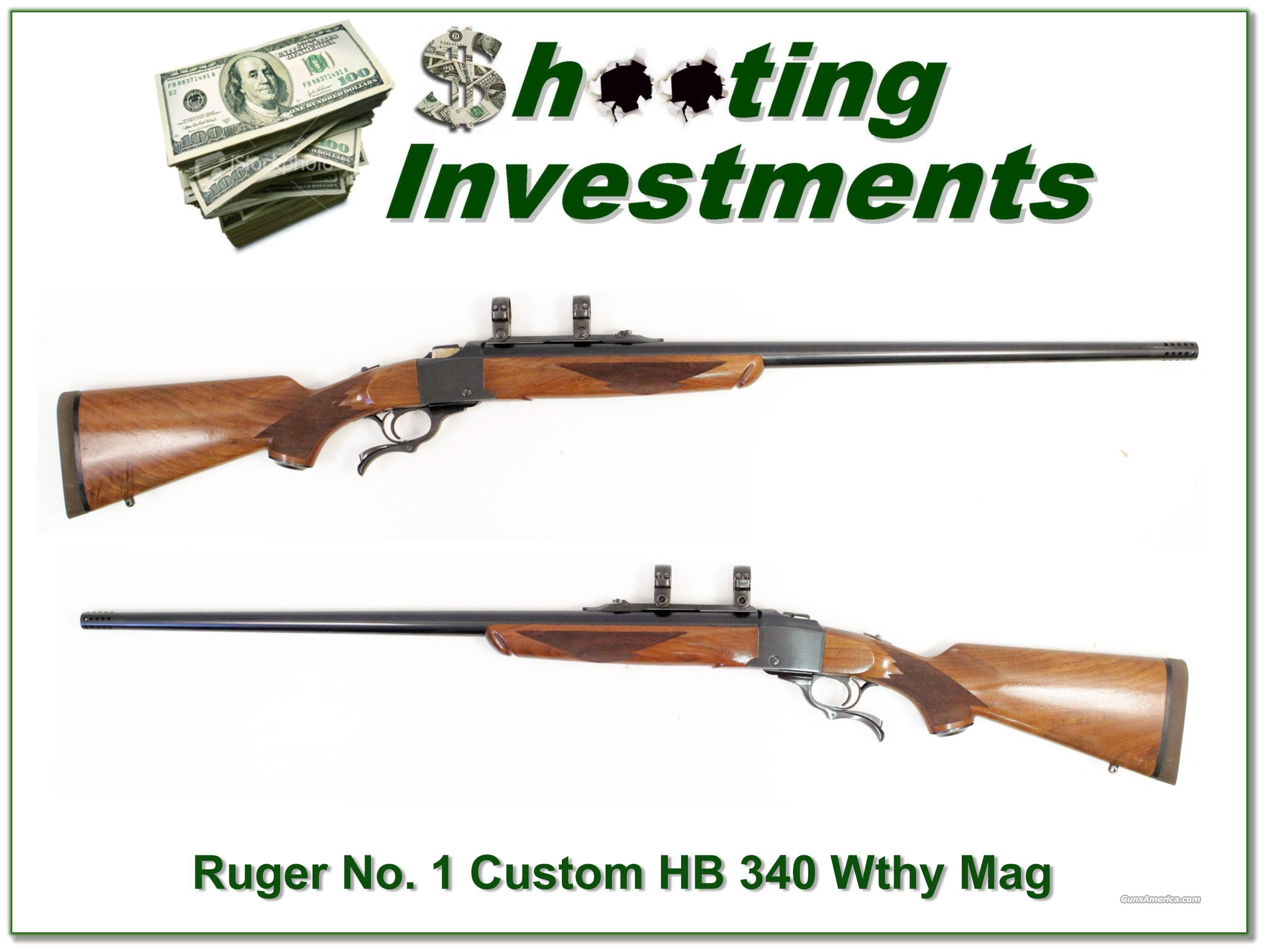 Ruger No. 1 Custom Heavy Barrel 340 Weatherby Mag  Guns > Rifles > Ruger Rifles > #1 Type