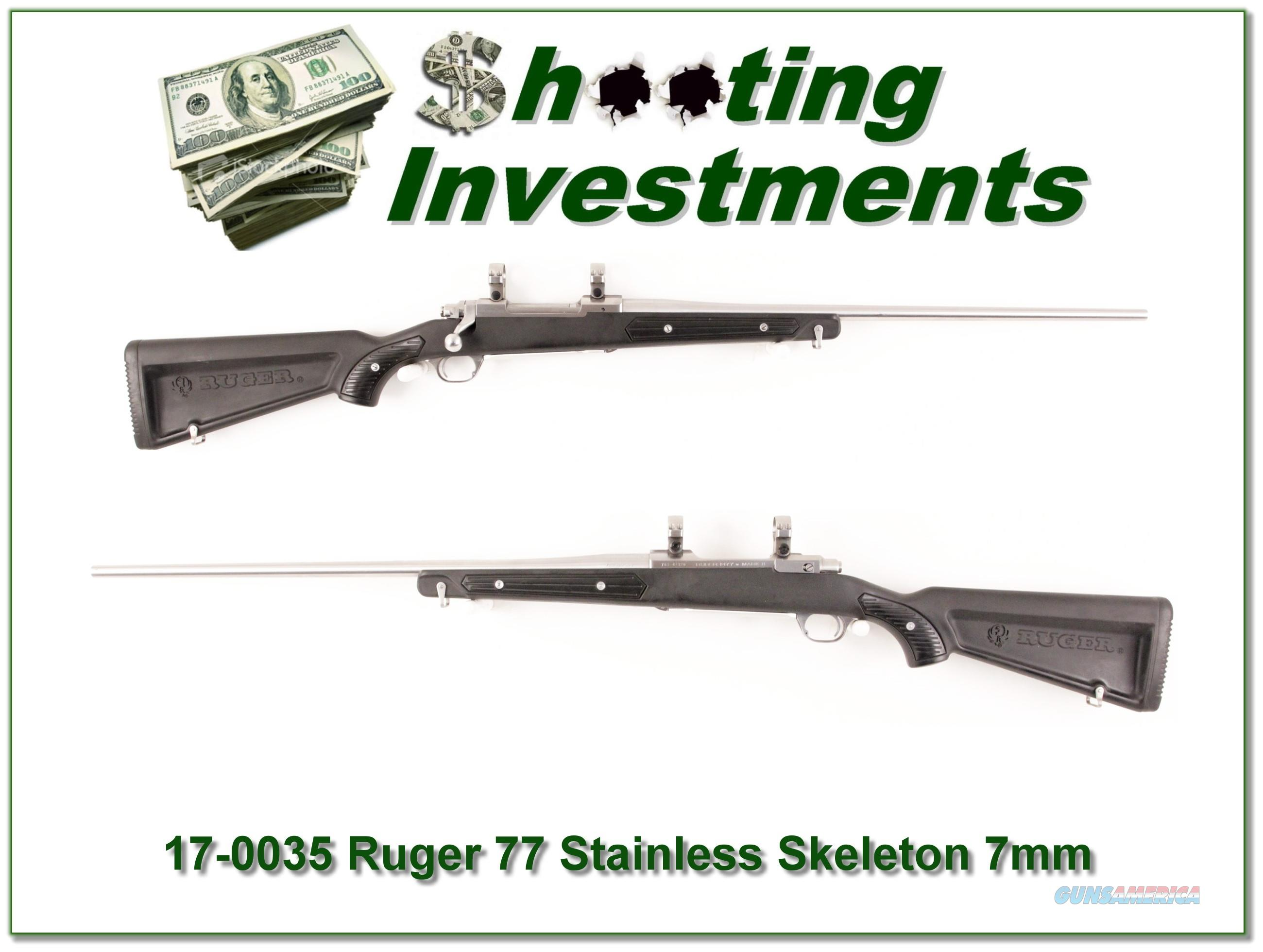 "Ruger Mark II Stainless ""Skeleton"" 7mm Rem Mag Exc Cond  Guns > Rifles > Ruger Rifles > Model 77"