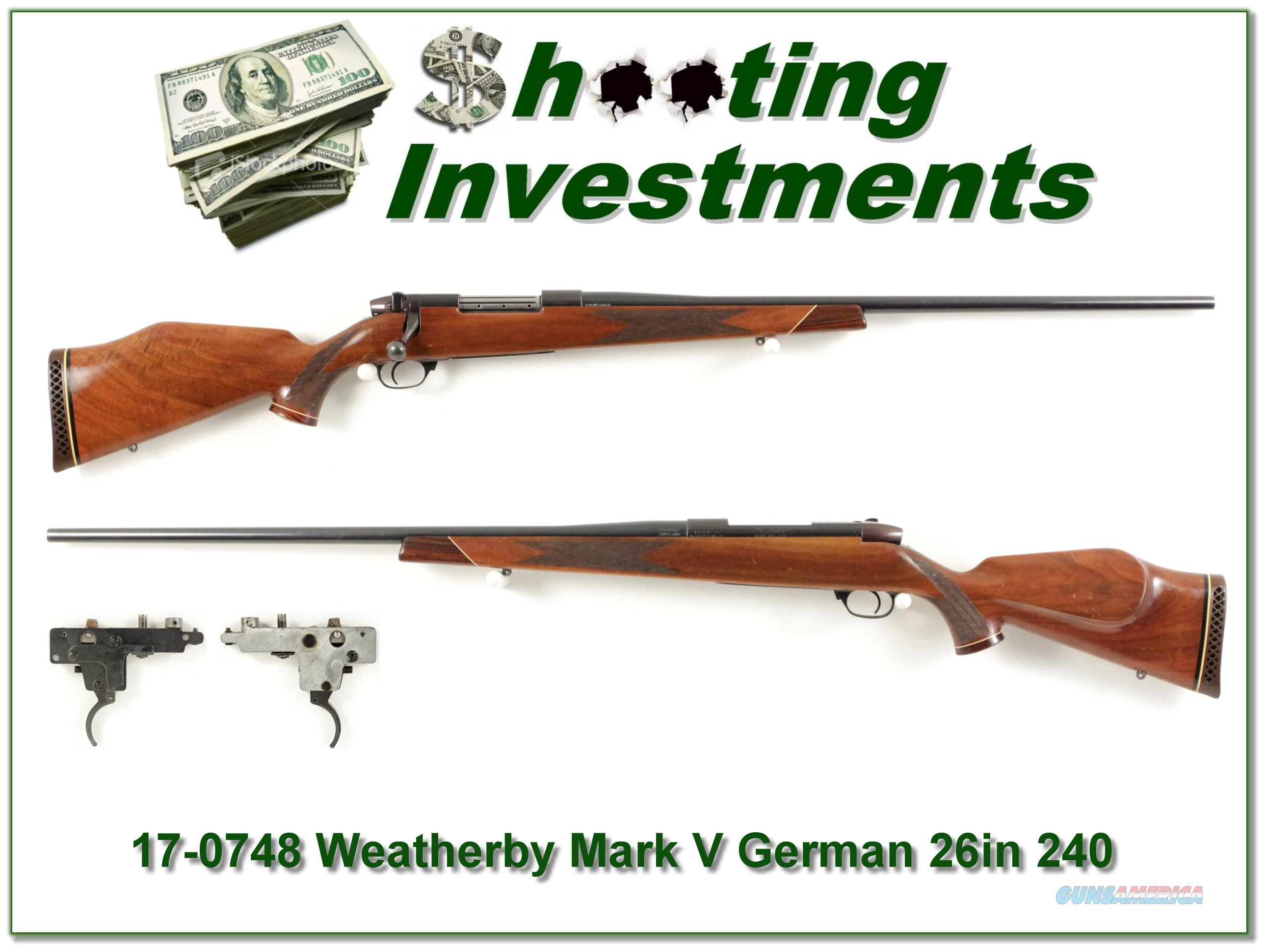 Weatherby Mark V Deluxe 26in German 240 Wthy Mag!  Guns > Rifles > Weatherby Rifles > Sporting