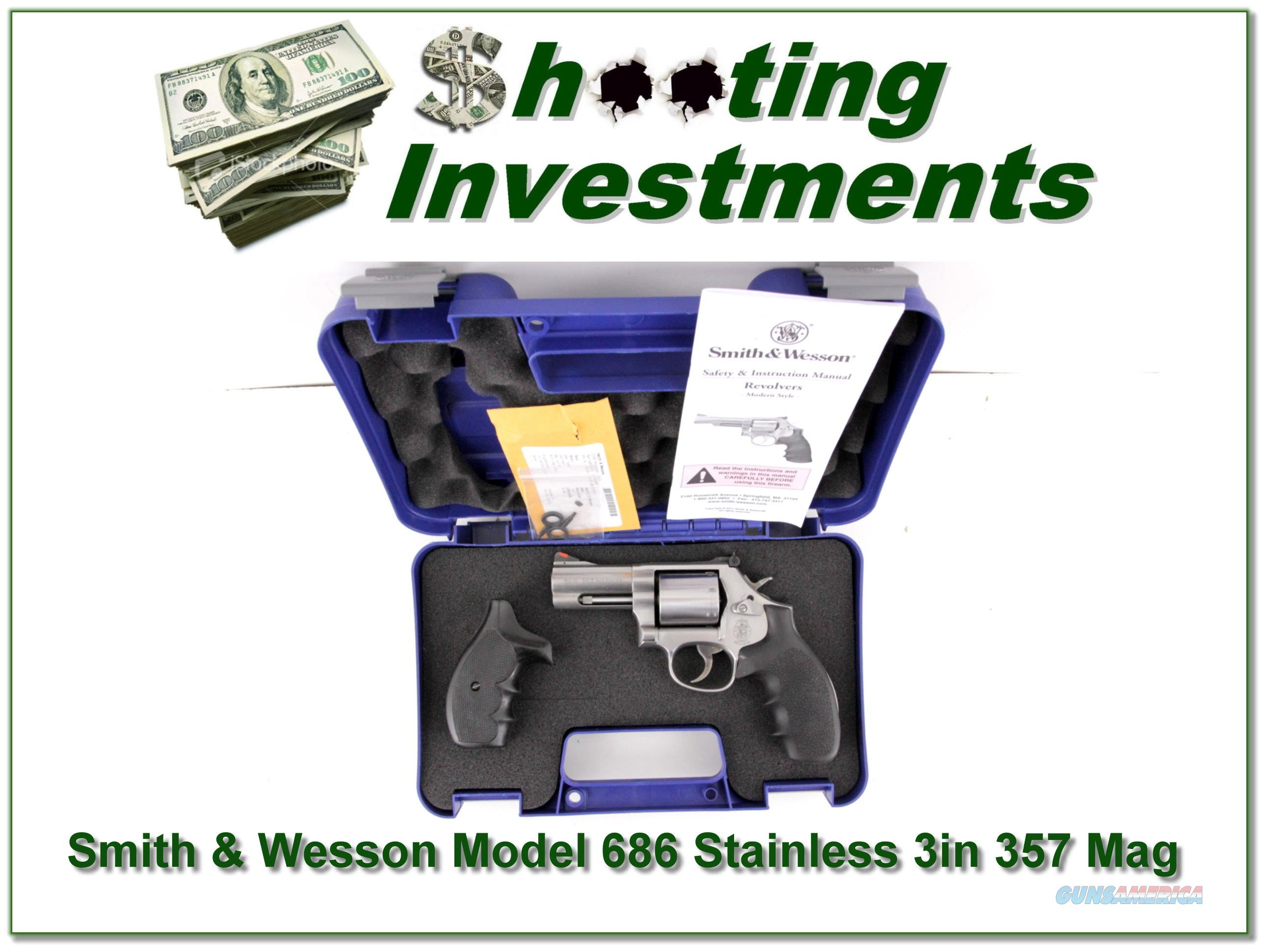 Smith & Wesson Model 686 Stainless 3in 357 in case  Guns > Pistols > Smith & Wesson Revolvers > Full Frame Revolver