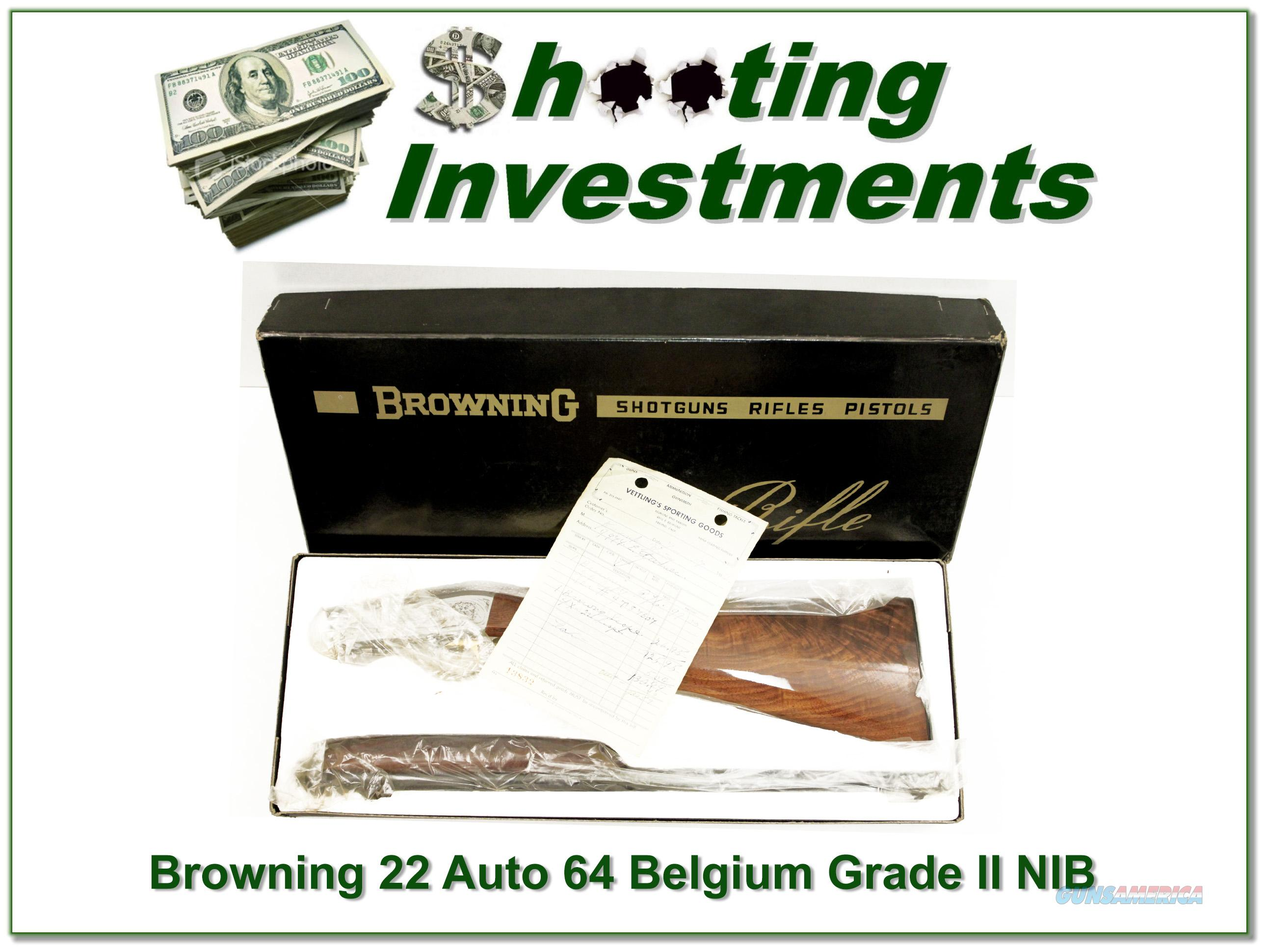 Browning 22 Auto Grade II 64 Belgium unfired in box!  Guns > Rifles > Browning Rifles > Semi Auto > Hunting