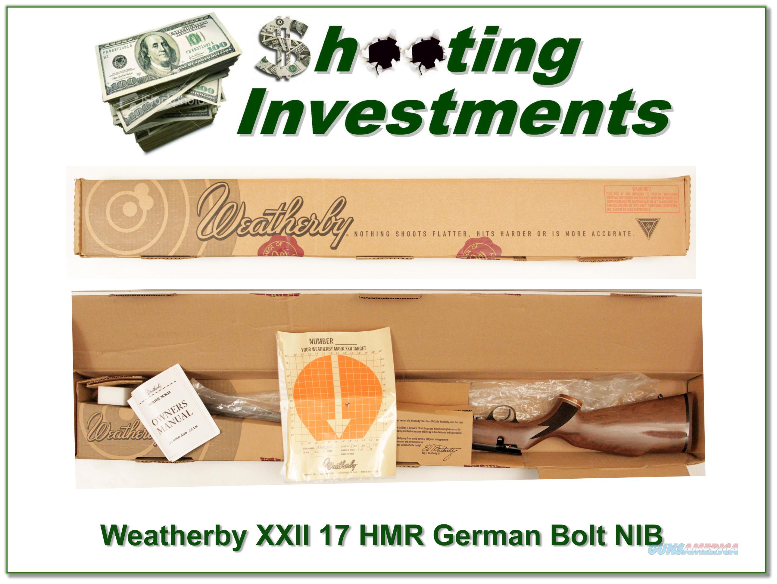 Weatherby XXII 17 HMR Bolt action Anschutz made NIB  Guns > Rifles > Weatherby Rifles > Sporting