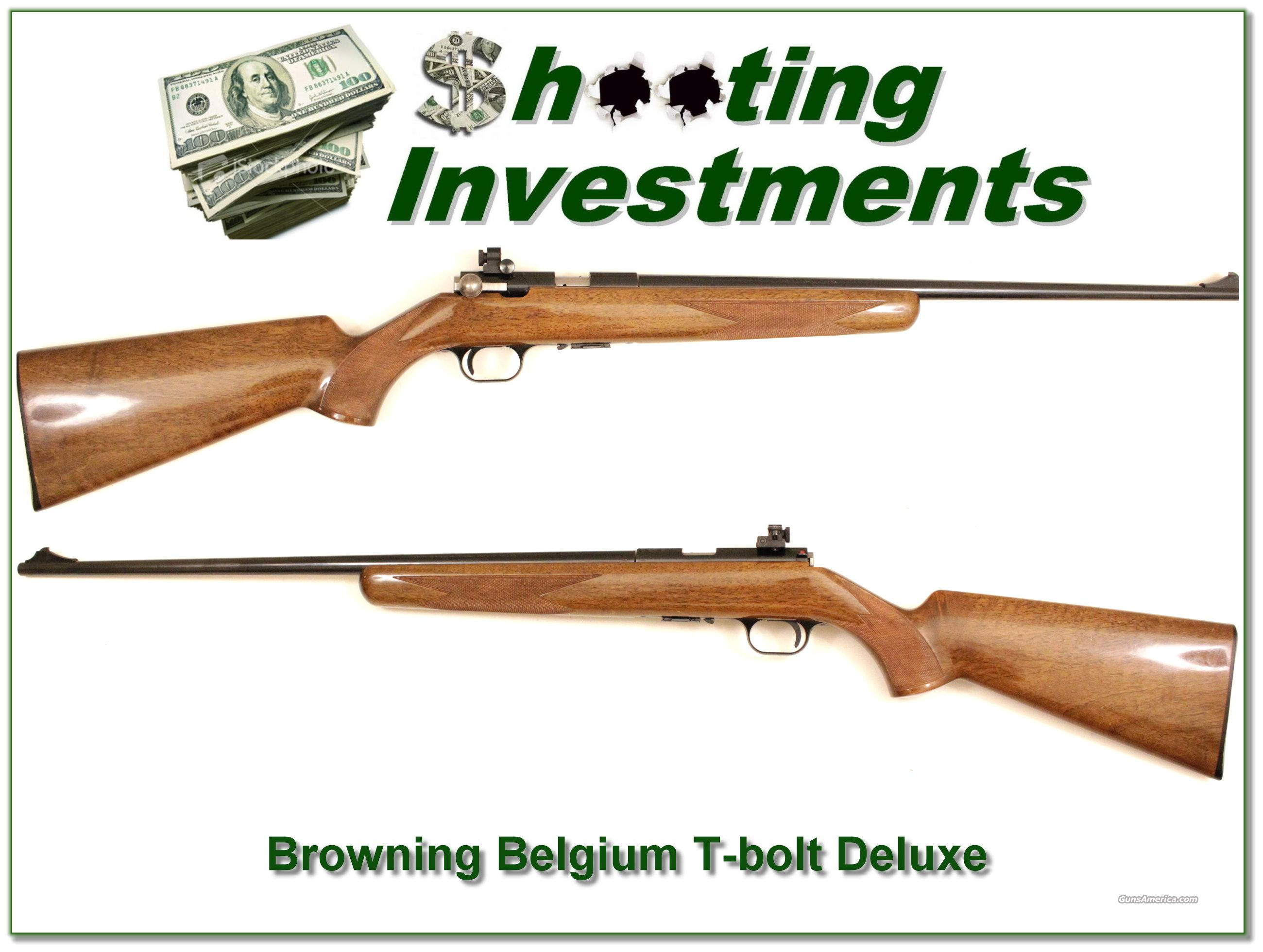 Browning Belgium T-Bolt Deluxe with Peep Site  Guns > Rifles > Browning Rifles > Bolt Action > Hunting > Blue