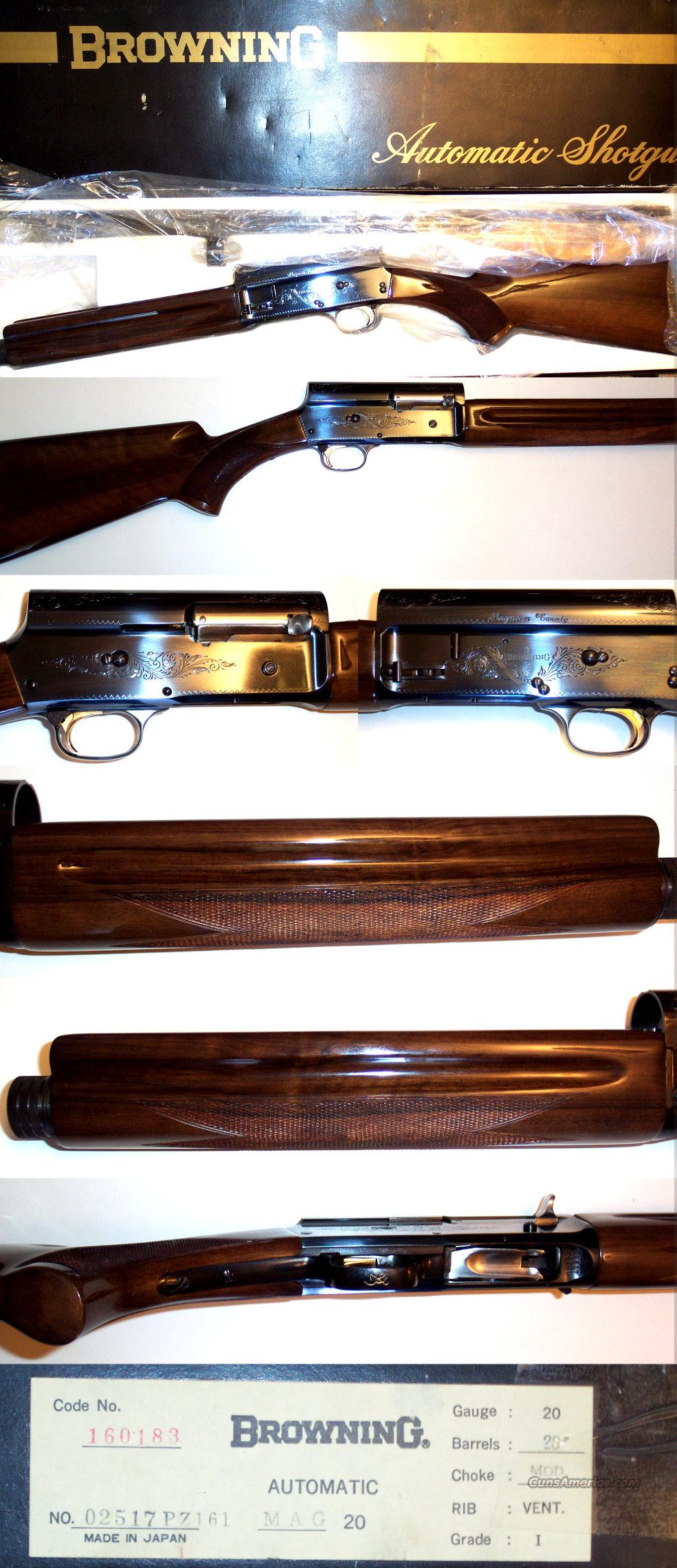 Browning A5 Magnum 20 gauge, NIB  Guns > Shotguns > Browning Shotguns > Autoloaders > Hunting