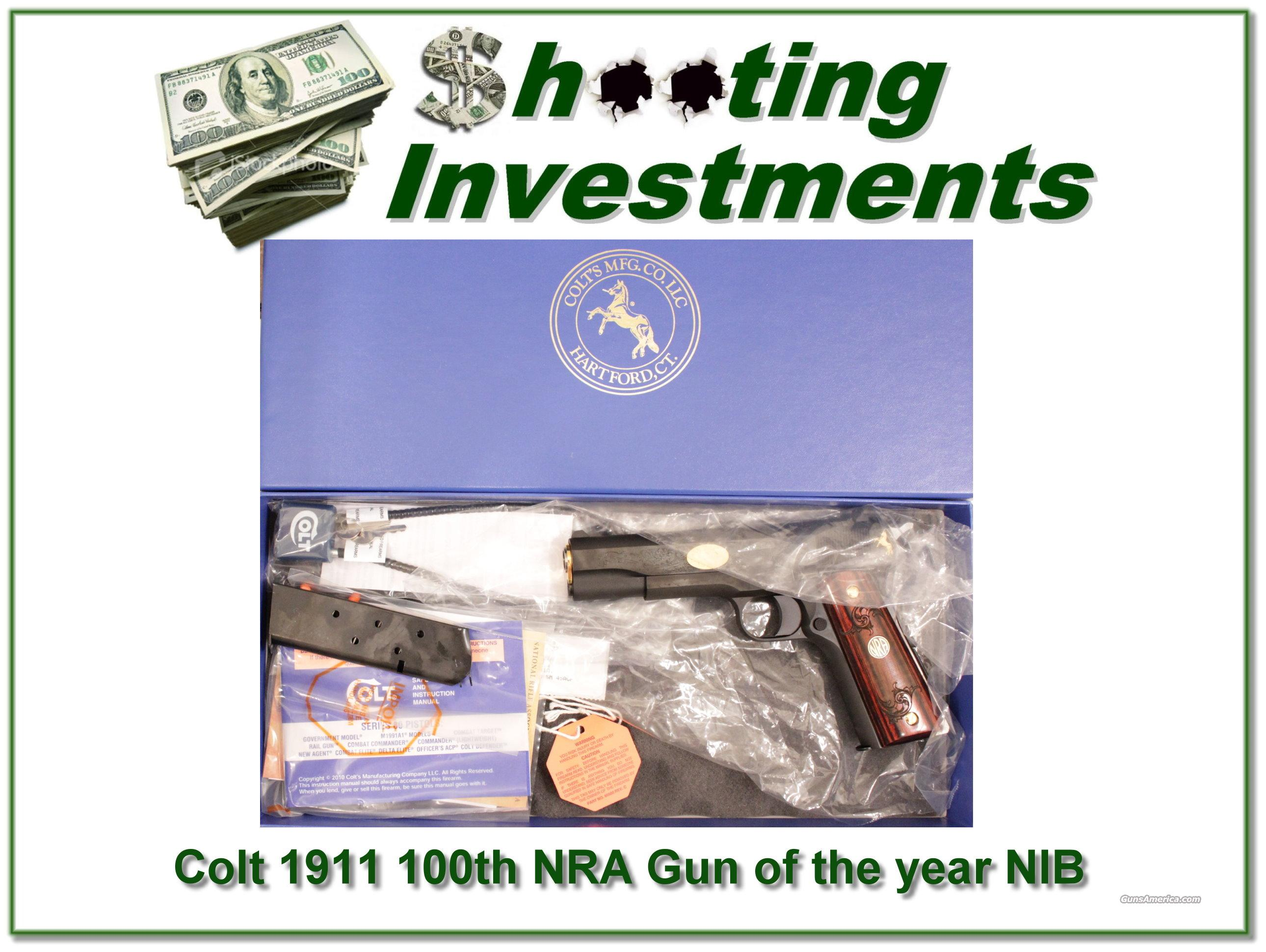 This Colt 1911 was the 2011 NRA 100 years gun. It is new in original box and perfect with all accessories including 2nd magazine. This gun is part of an Estate Sale and as such lay-a-way can't be used. It does of course have the standard 3   Guns > Pistols > Colt Automatic Pistols (1911 & Var)