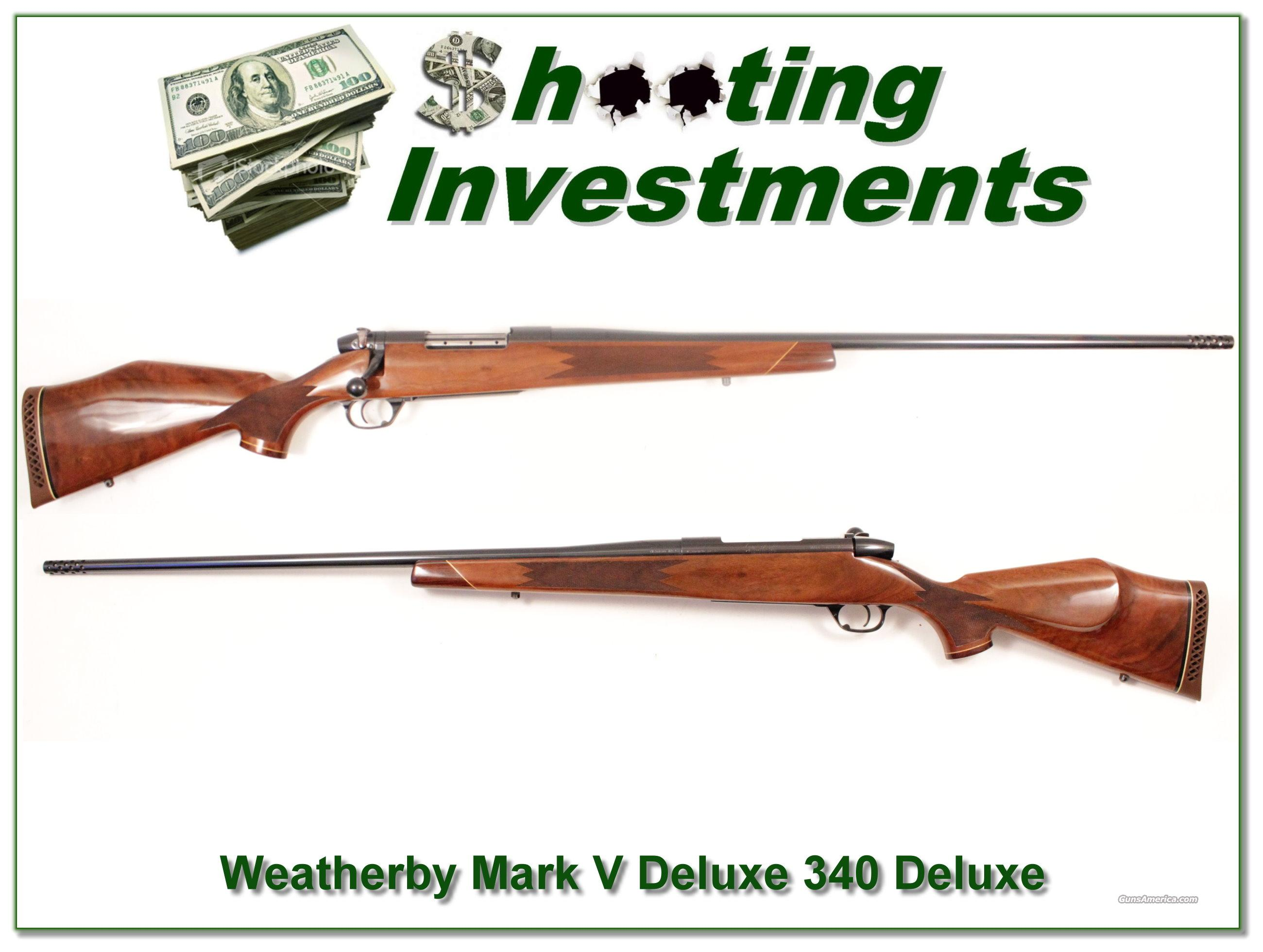 Weatherby Mark V Deluxe 340 Wthy Mag Exc Cond  Guns > Rifles > Weatherby Rifles > Sporting