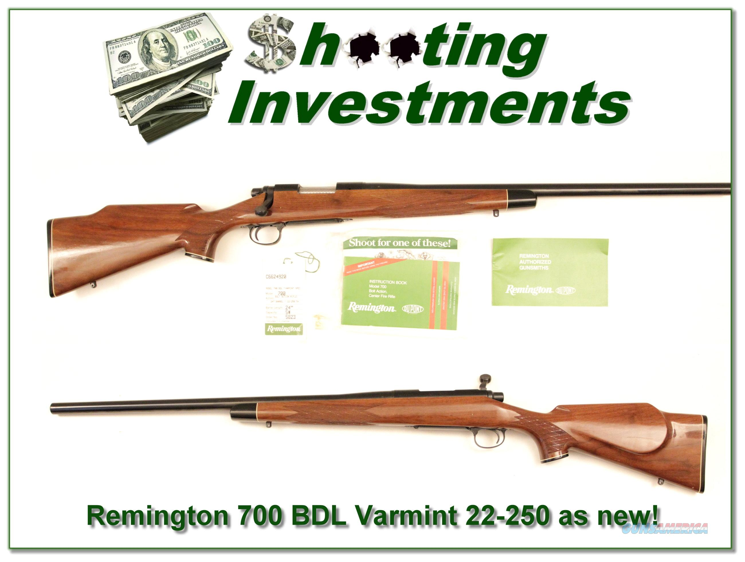 Remington 700 BDL Varmint in 22-250 Rem Exc Cond!  Guns > Rifles > Remington Rifles - Modern > Model 700 > Sporting