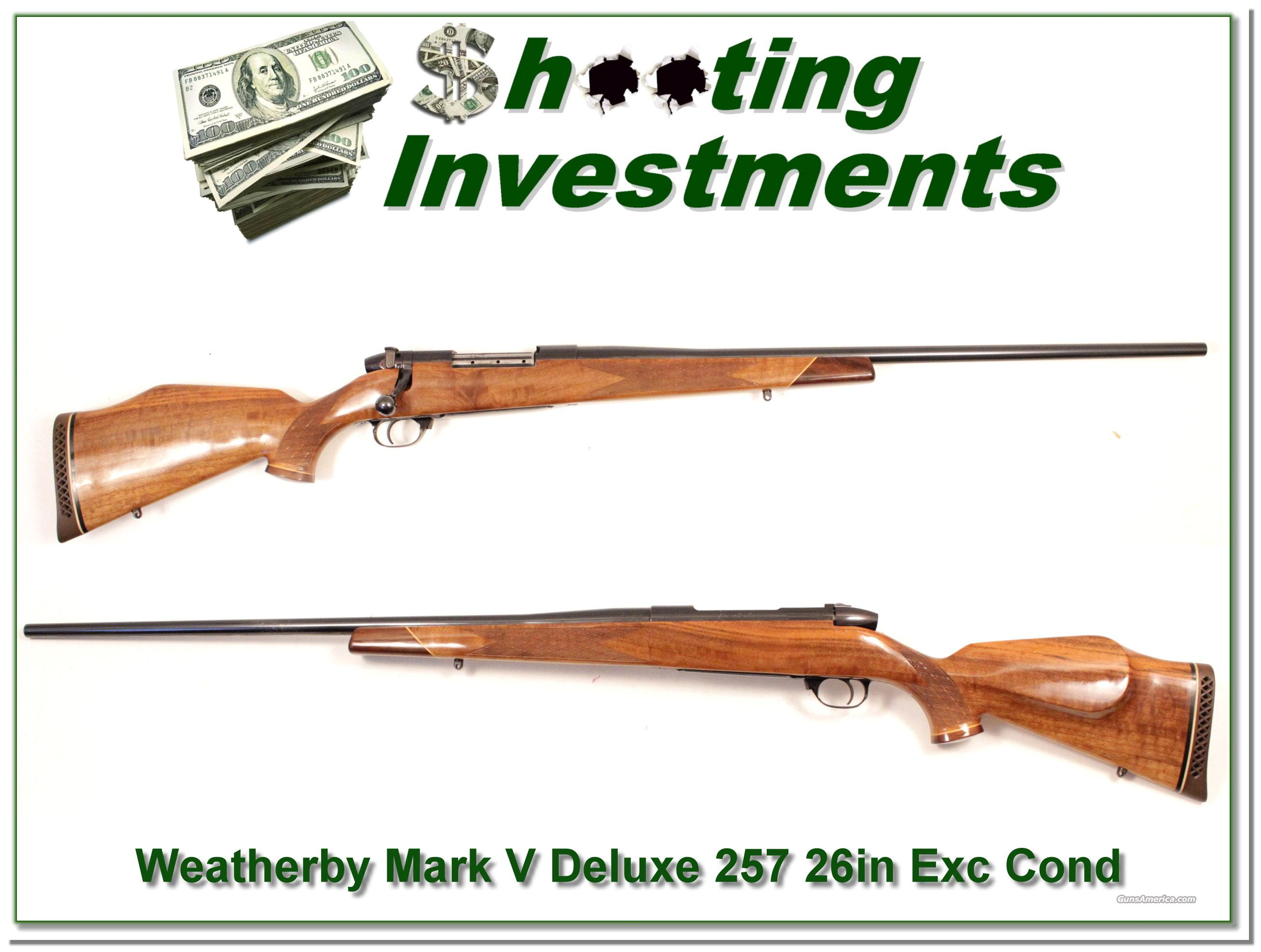 Weatherby Mark V Deluxe 26in 257 Wthy Mag Exc  Guns > Rifles > Weatherby Rifles > Sporting