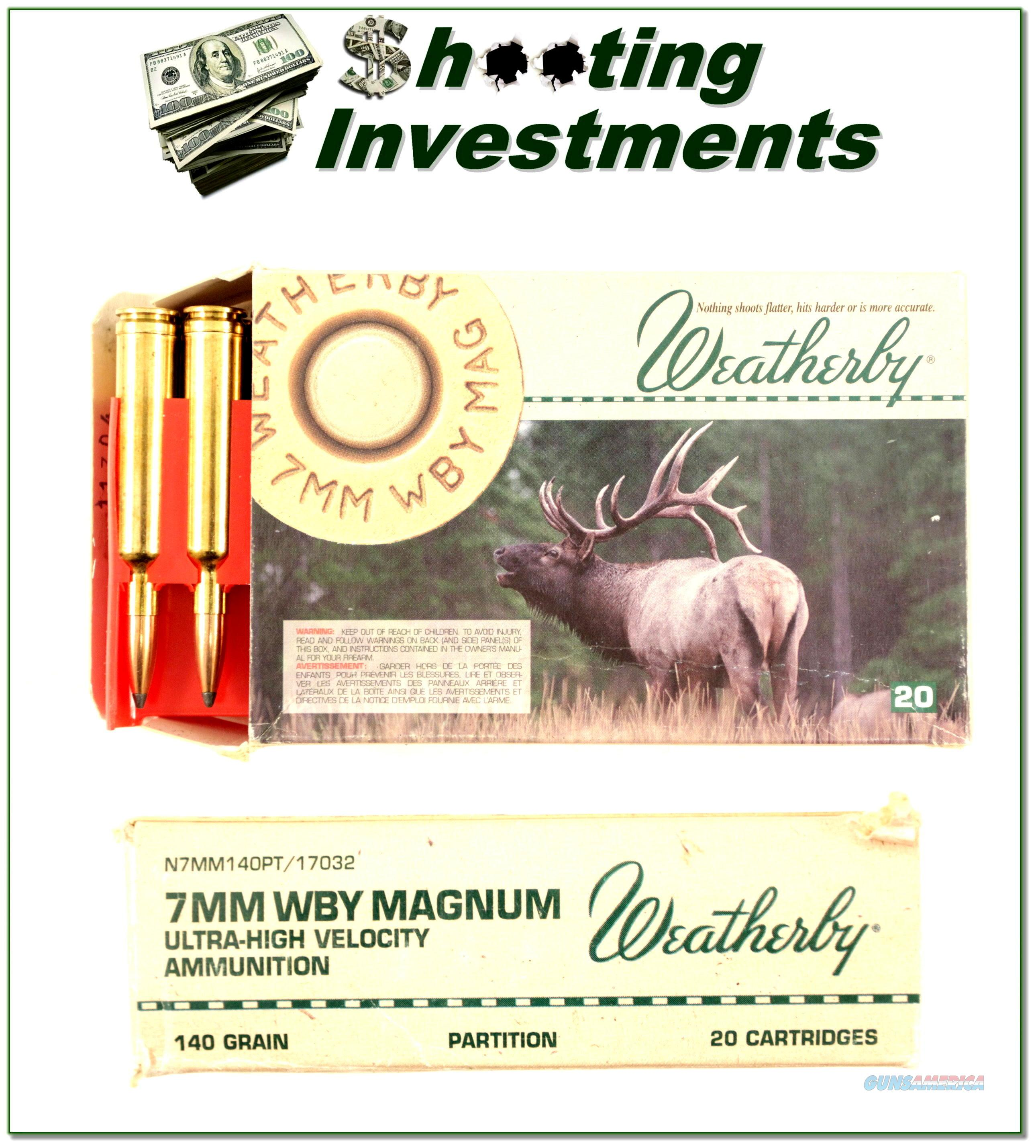 Weatherby 7mm Magnum factory ammo 140 Grain Partition  Non-Guns > Ammunition