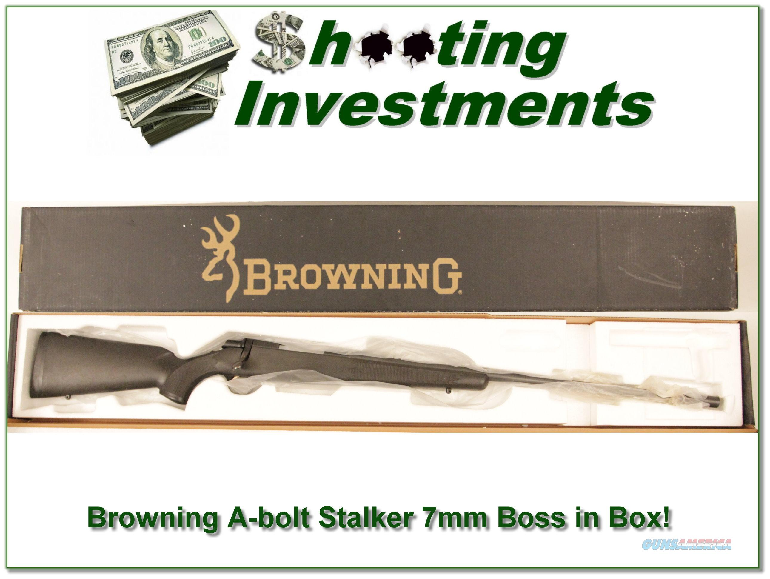 Browning A-bolt II Stalker 7mm Rem Mag with BOSS in Box!  Guns > Rifles > Browning Rifles > Bolt Action > Hunting > Blue