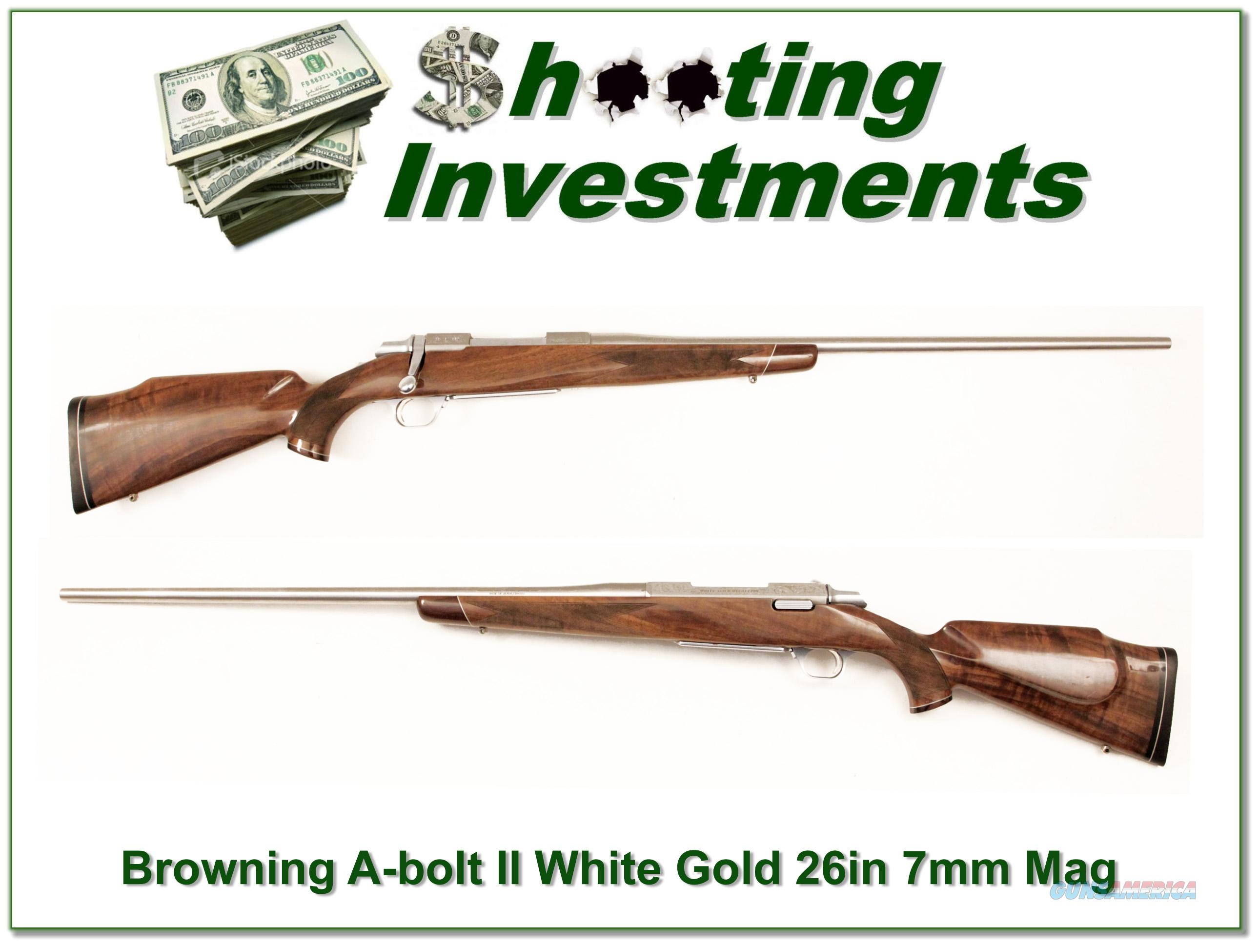 Browning A-bolt White Gold Medallion 7mm Rem Mag  Guns > Rifles > Browning Rifles > Bolt Action > Hunting > Stainless