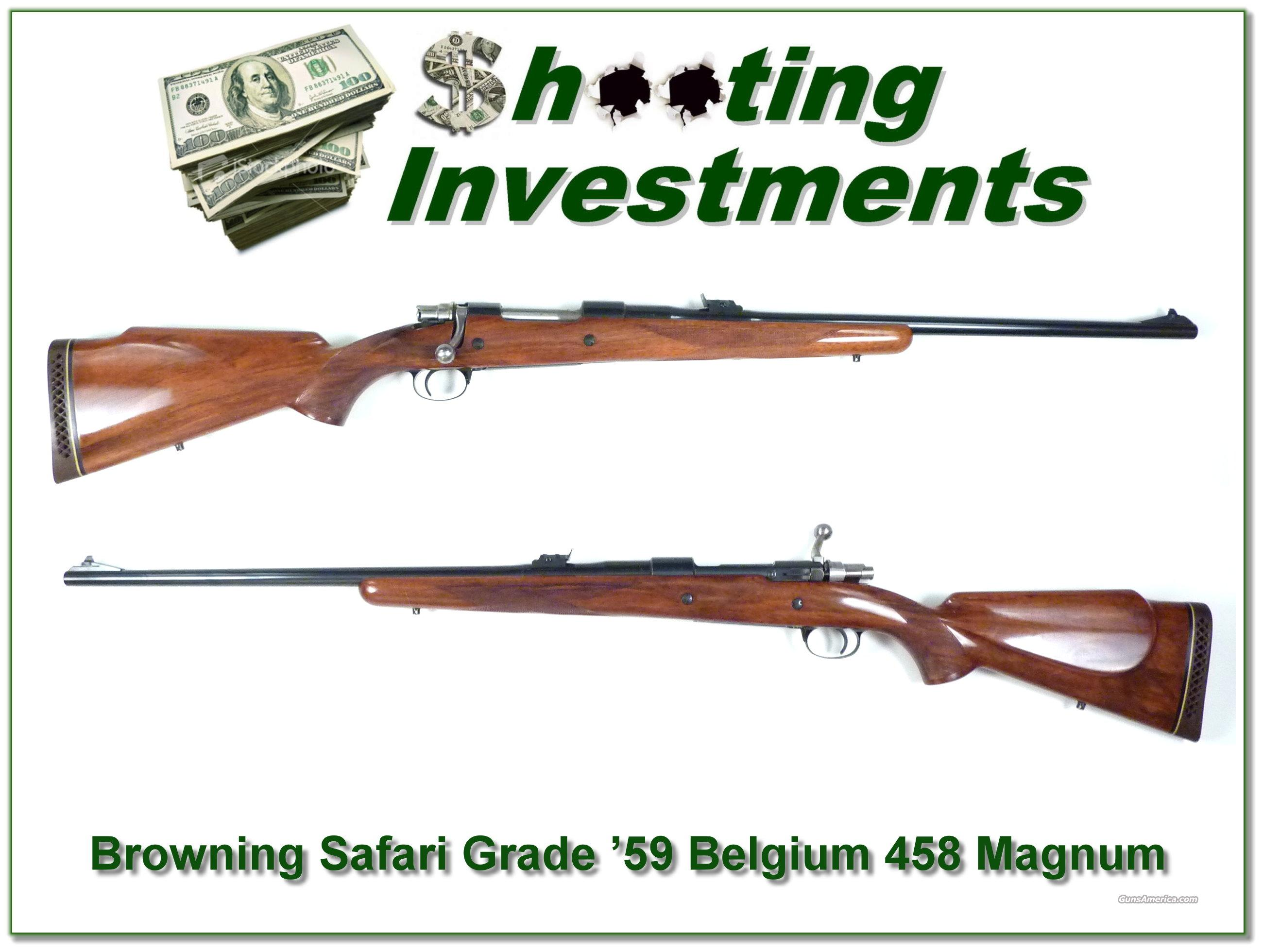 Browning Safari Grade '59 Belgium 458 Magnum  Guns > Rifles > Browning Rifles > Bolt Action > Hunting > Blue