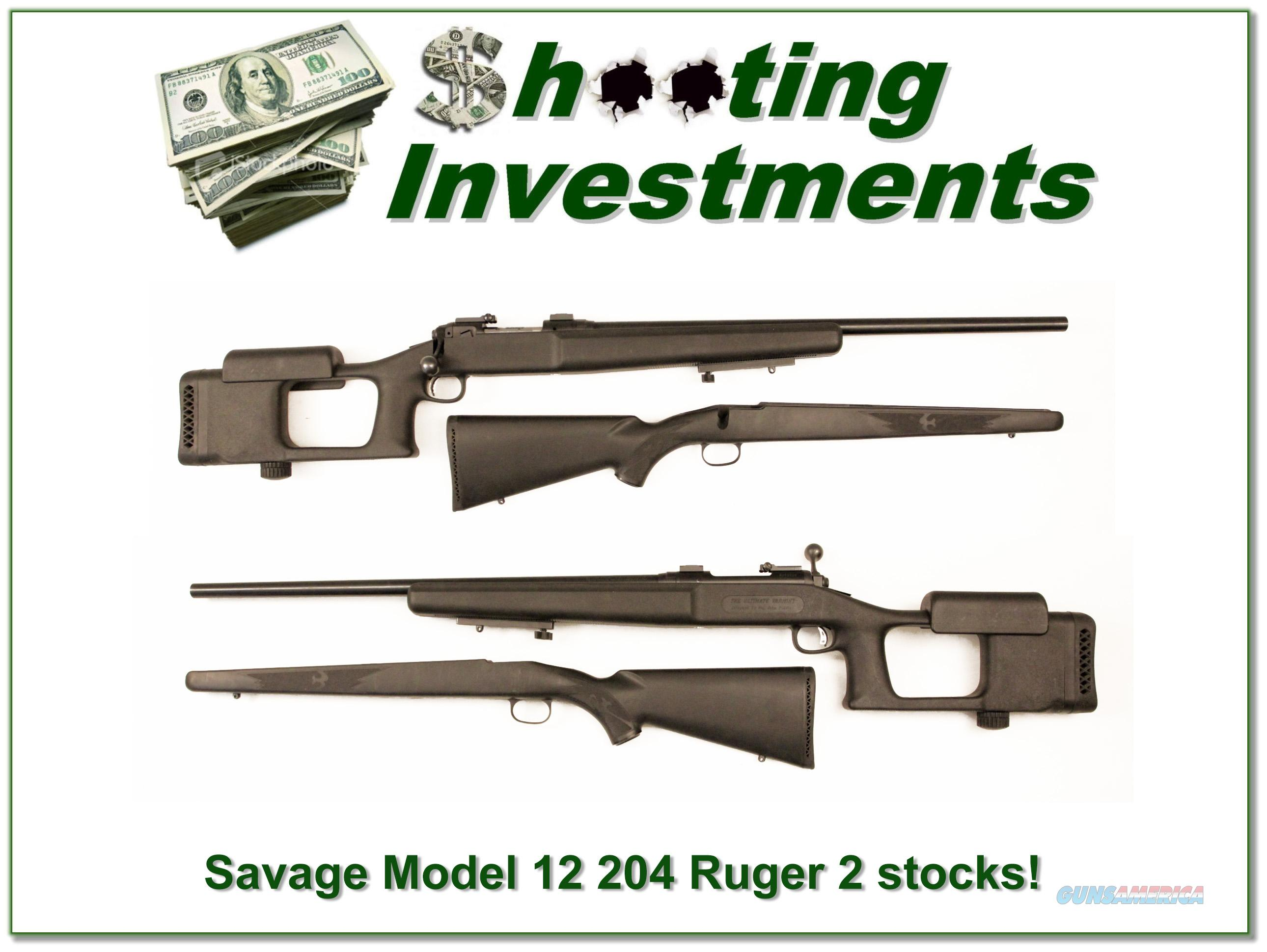 Savage Model 12 in 204 Ruger HB with target stock and original stock  Guns > Rifles > Savage Rifles > Other