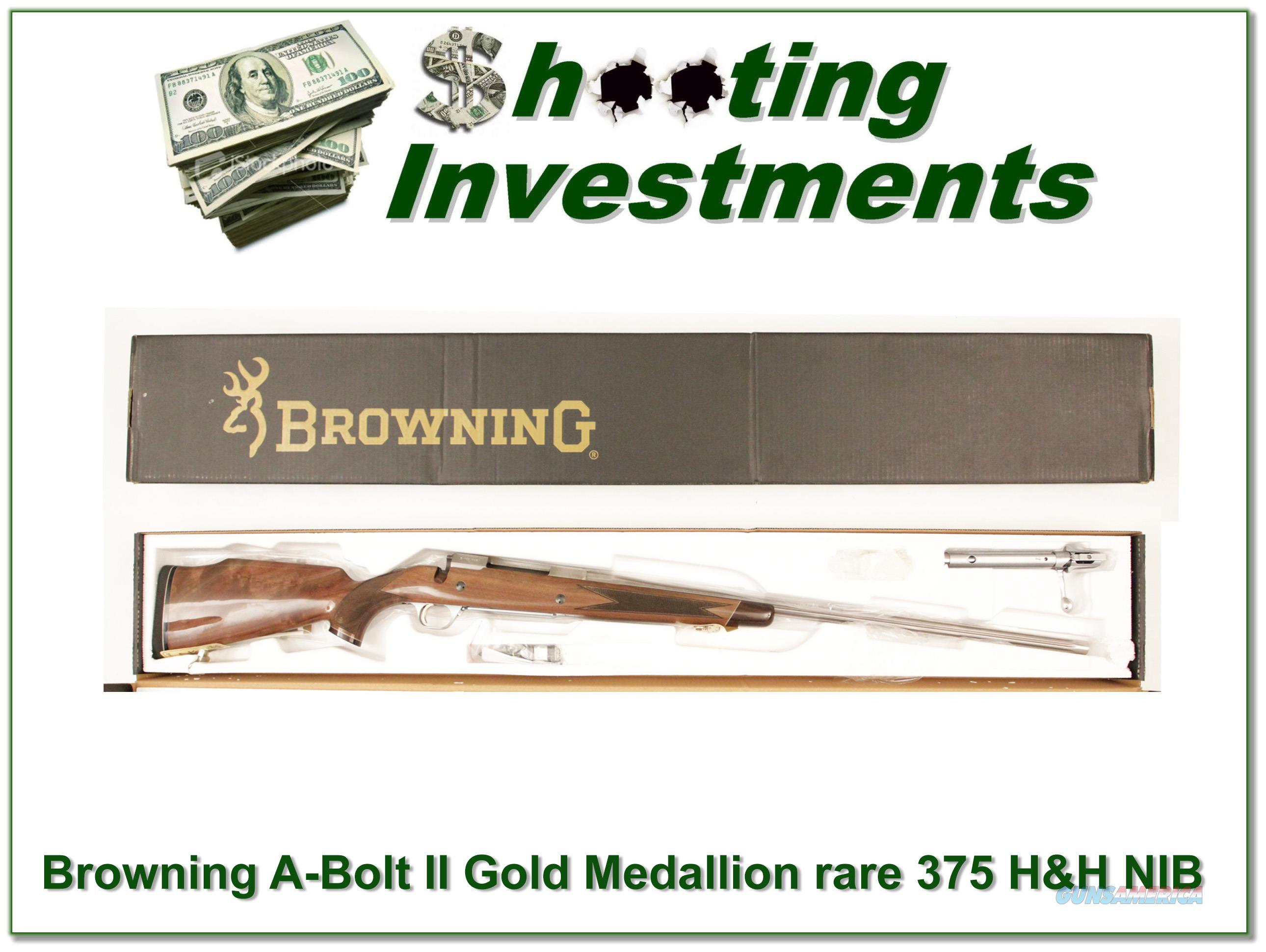 Browning A-bolt White Gold Medallion NIB Rare 375 H&H  Guns > Rifles > Browning Rifles > Bolt Action > Hunting > Stainless
