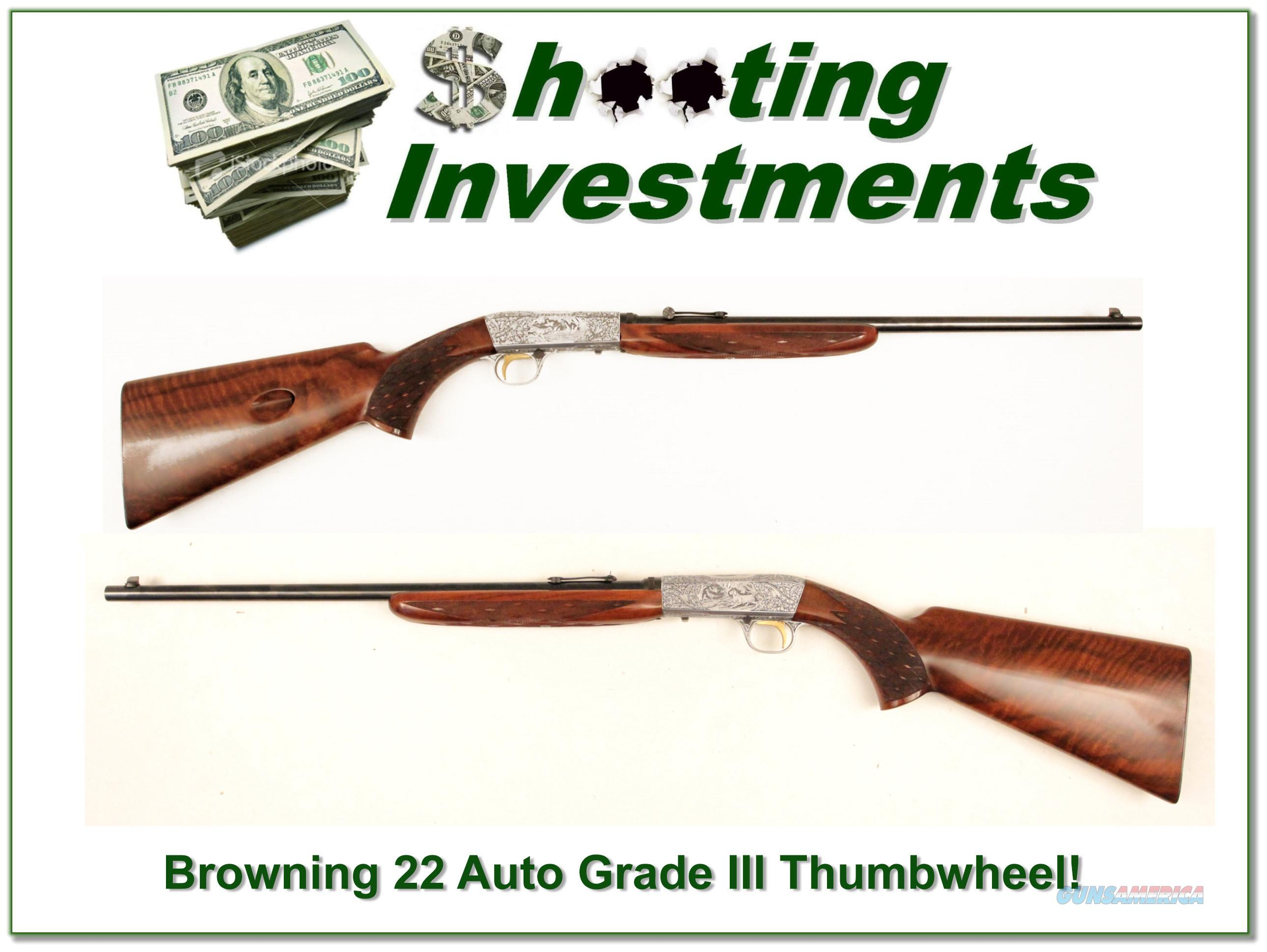 Browning 22 auto Grade III Thumbwheel Funken double signed!  Guns > Rifles > Browning Rifles > Semi Auto > Hunting