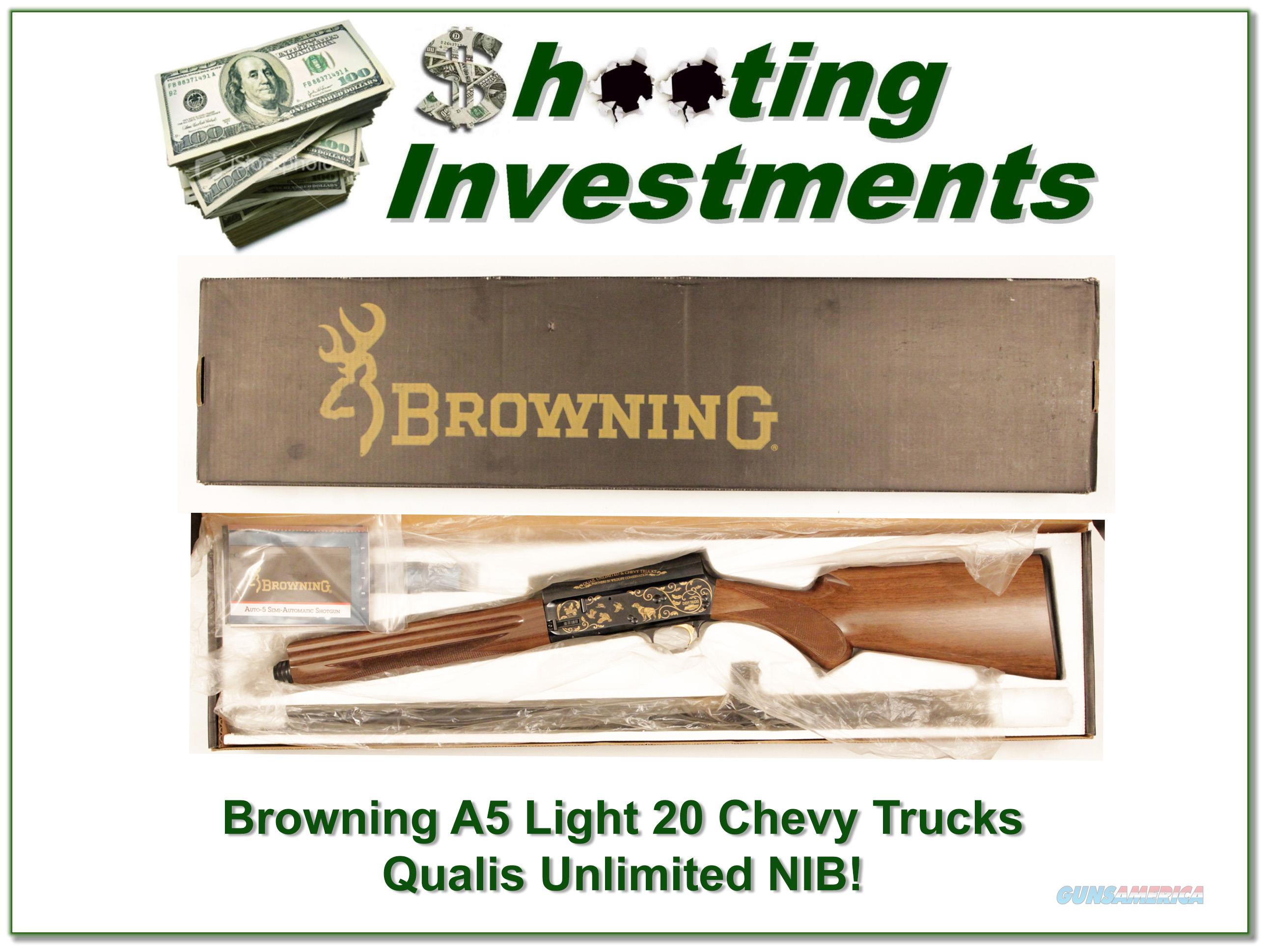 Browning A5 Light 20 Quails Unlimited Chevy Trucks 5 of 100 NIB!  Guns > Shotguns > Browning Shotguns > Autoloaders > Hunting
