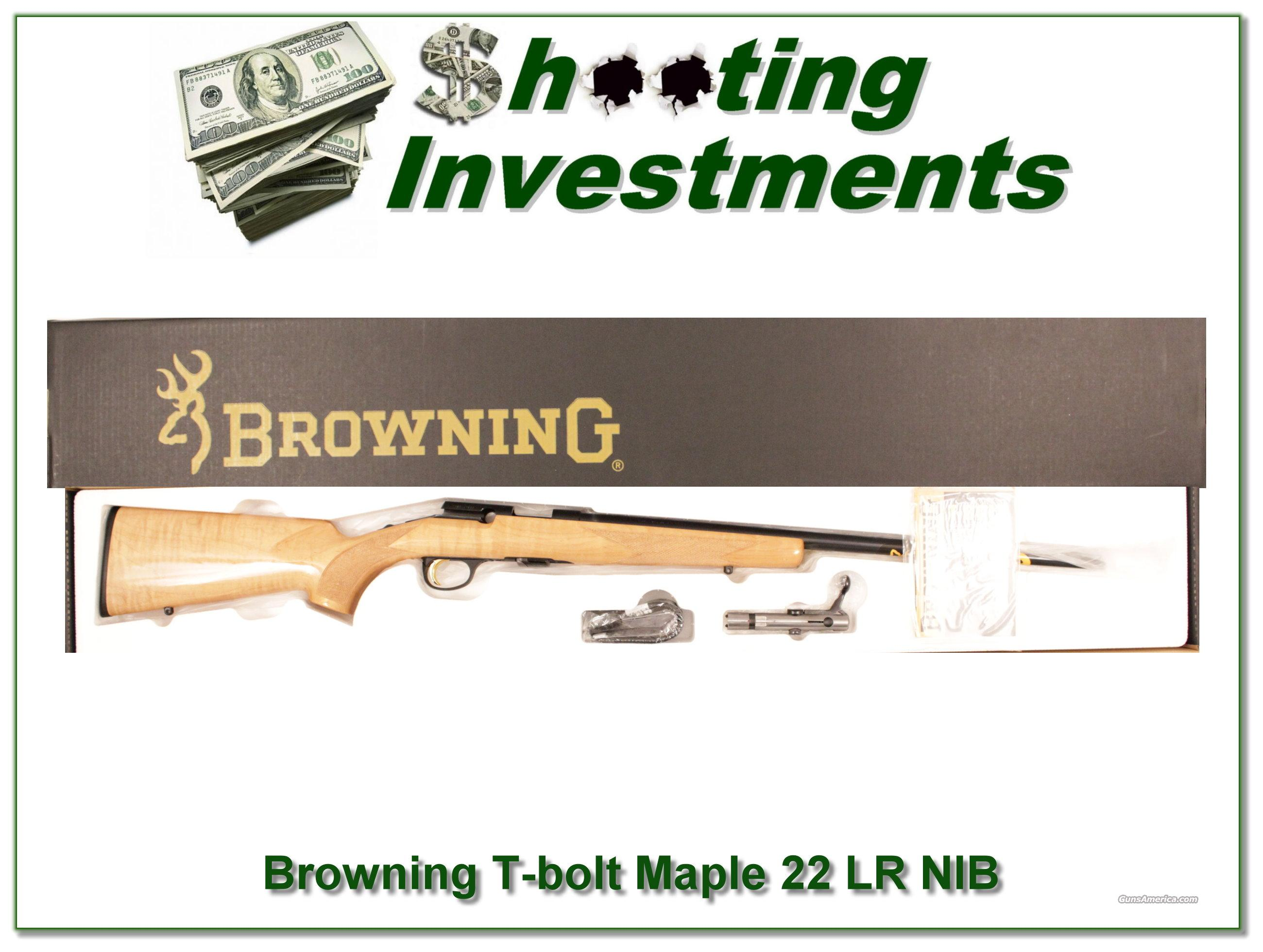 Browning T-bolt 22LR Limited Run Maple Stock NIB  Guns > Rifles > Browning Rifles > Bolt Action > Hunting > Stainless