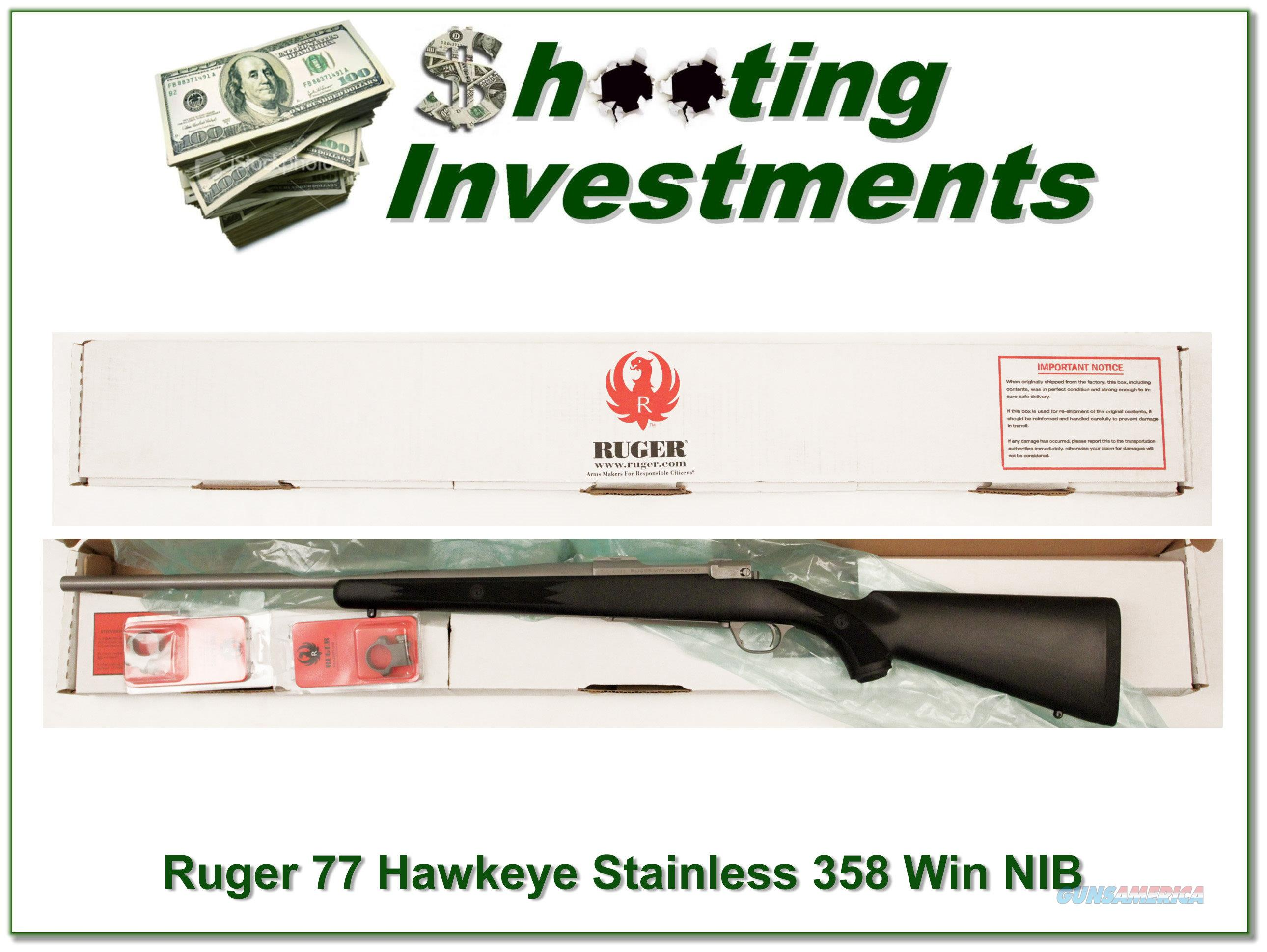 Ruger 77 Hawkeye 358 Winchester Stainless NIB!  Guns > Rifles > Ruger Rifles > Model 77