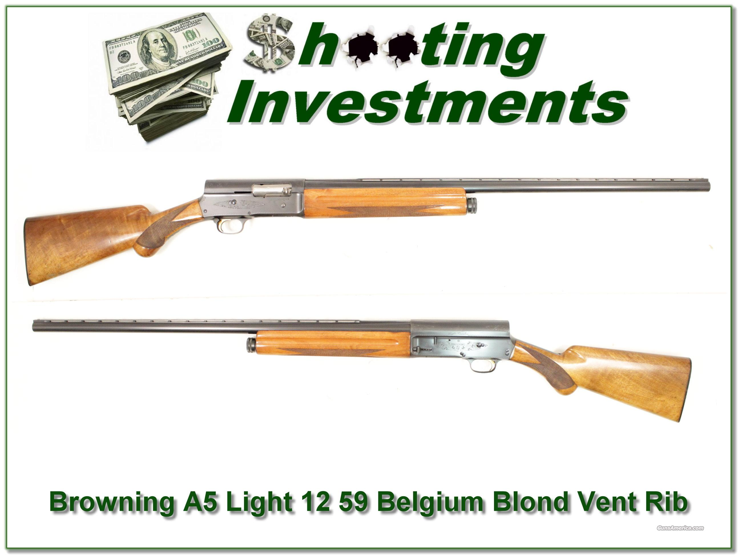 Browning A5 Light 12 59 Belgium Blond VR  Guns > Shotguns > Browning Shotguns > Autoloaders > Hunting