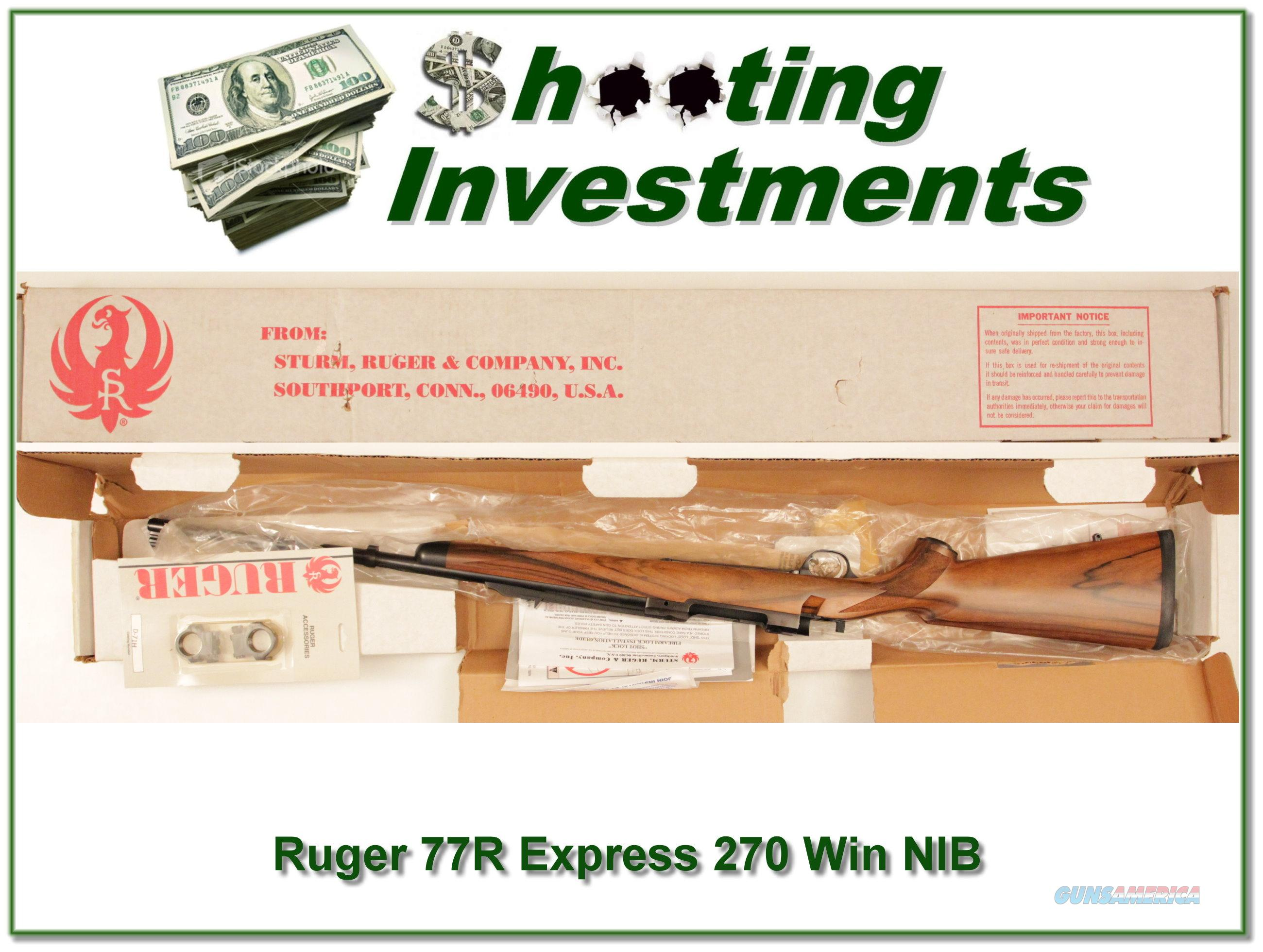 Ruger 77R Express 270 NIB XX Wood!  Guns > Rifles > Ruger Rifles > Model 77