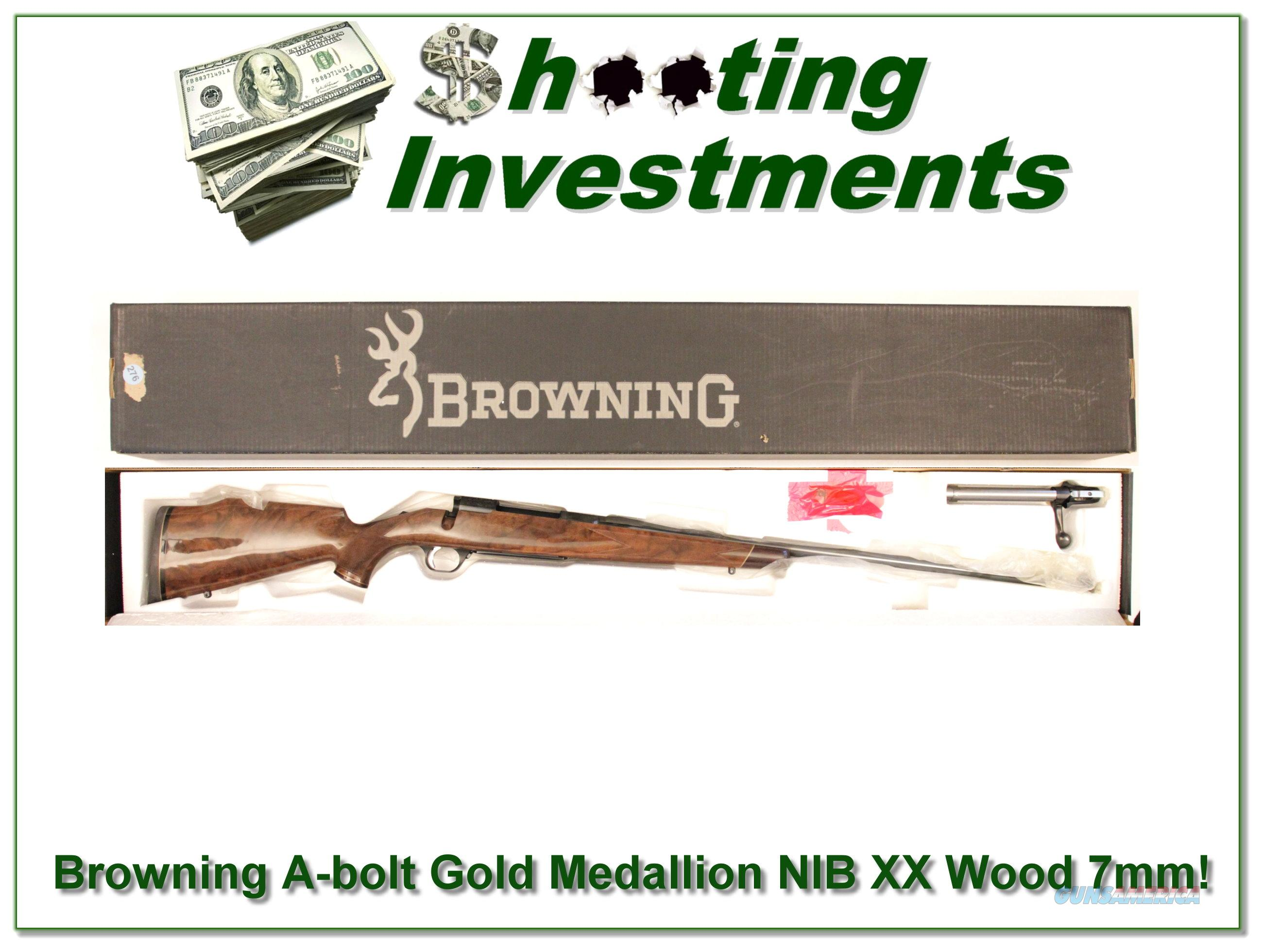 Browning A-bolt Gold Medallion 7mm NIB XXX Wood!  Guns > Rifles > Browning Rifles > Bolt Action > Hunting > Blue