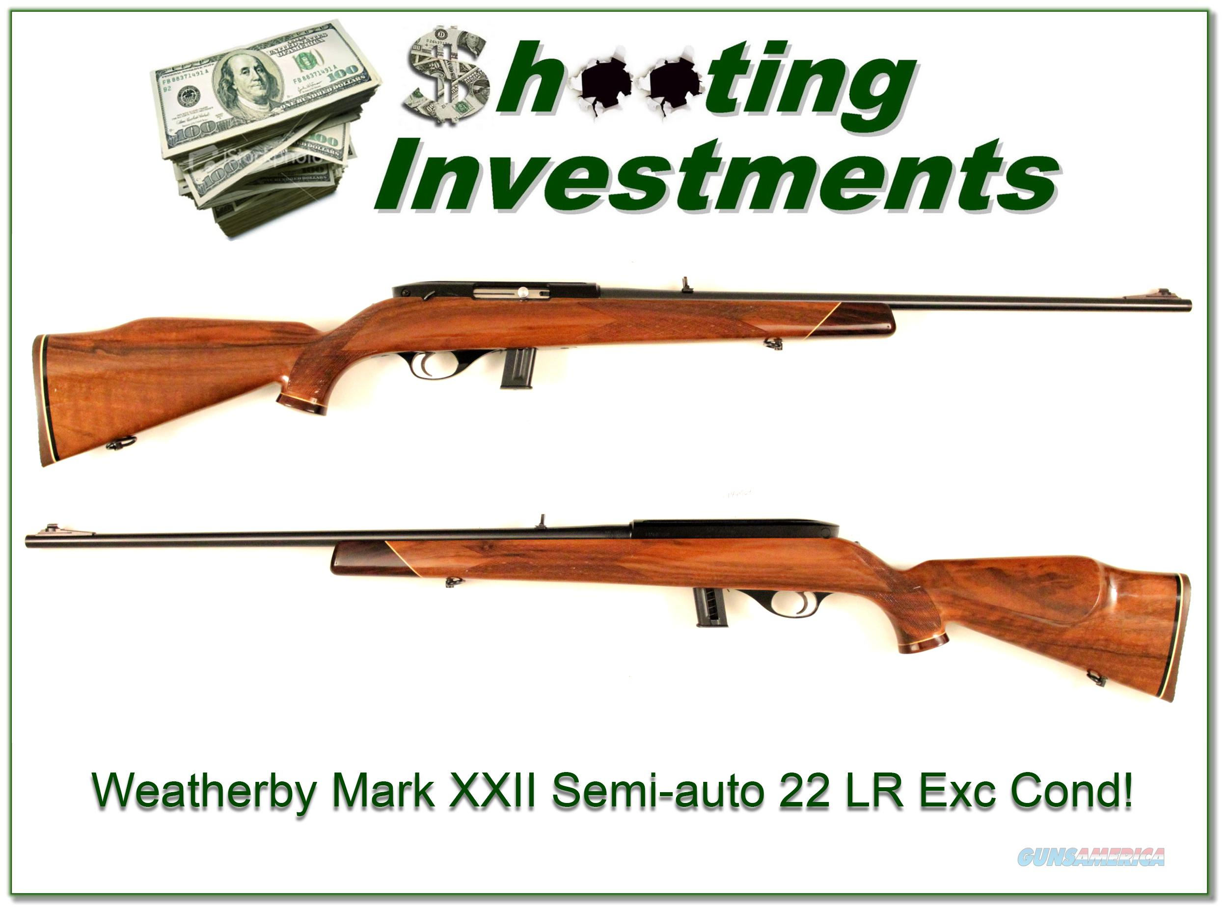 Weatherby Mark XXII 22 rimfire semi-auto Exc Cond!  Guns > Rifles > Weatherby Rifles > Sporting