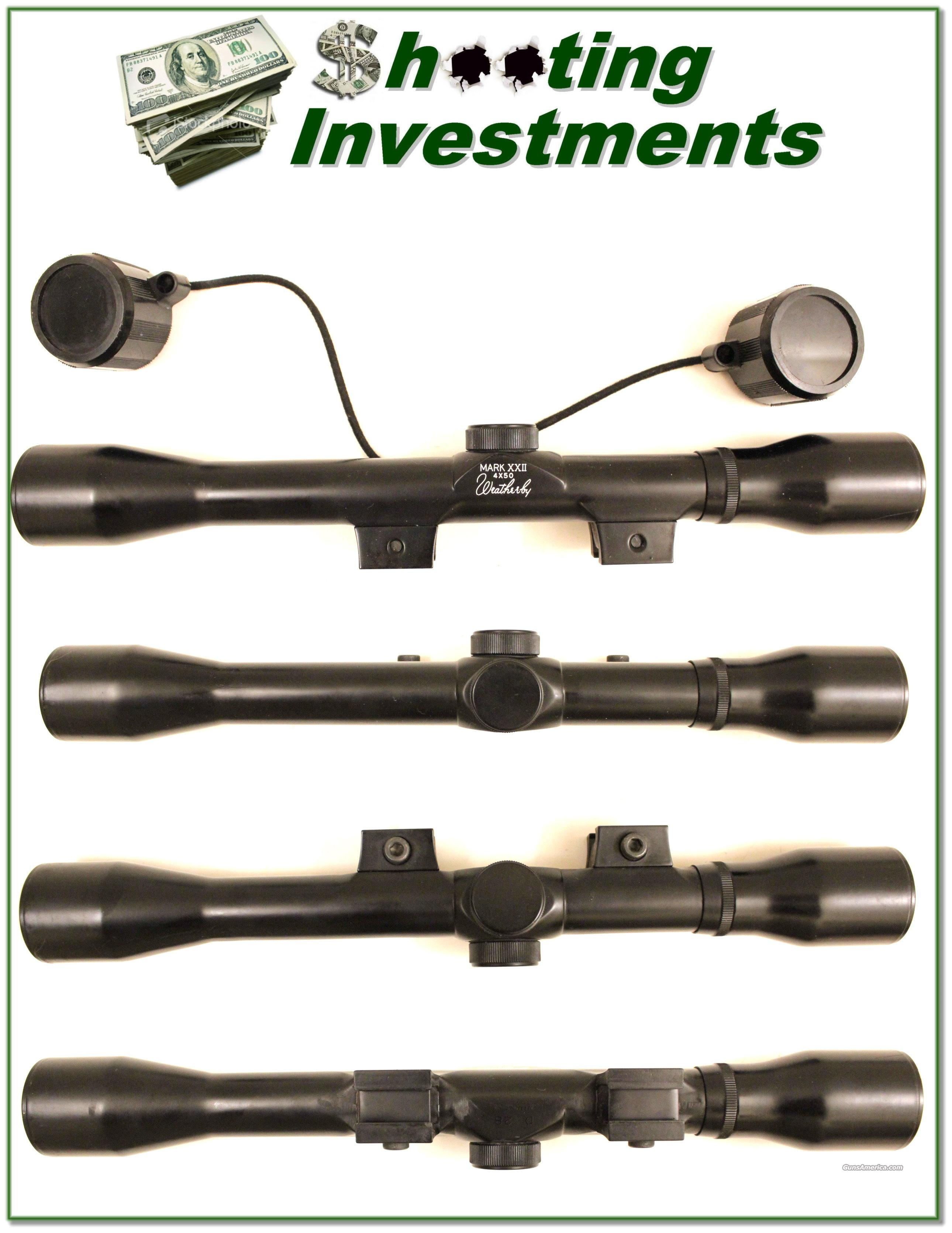 Weatherby XXII rimfire 4X scope like new with covers  Non-Guns > Scopes/Mounts/Rings & Optics > Rifle Scopes > Fixed Focal Length