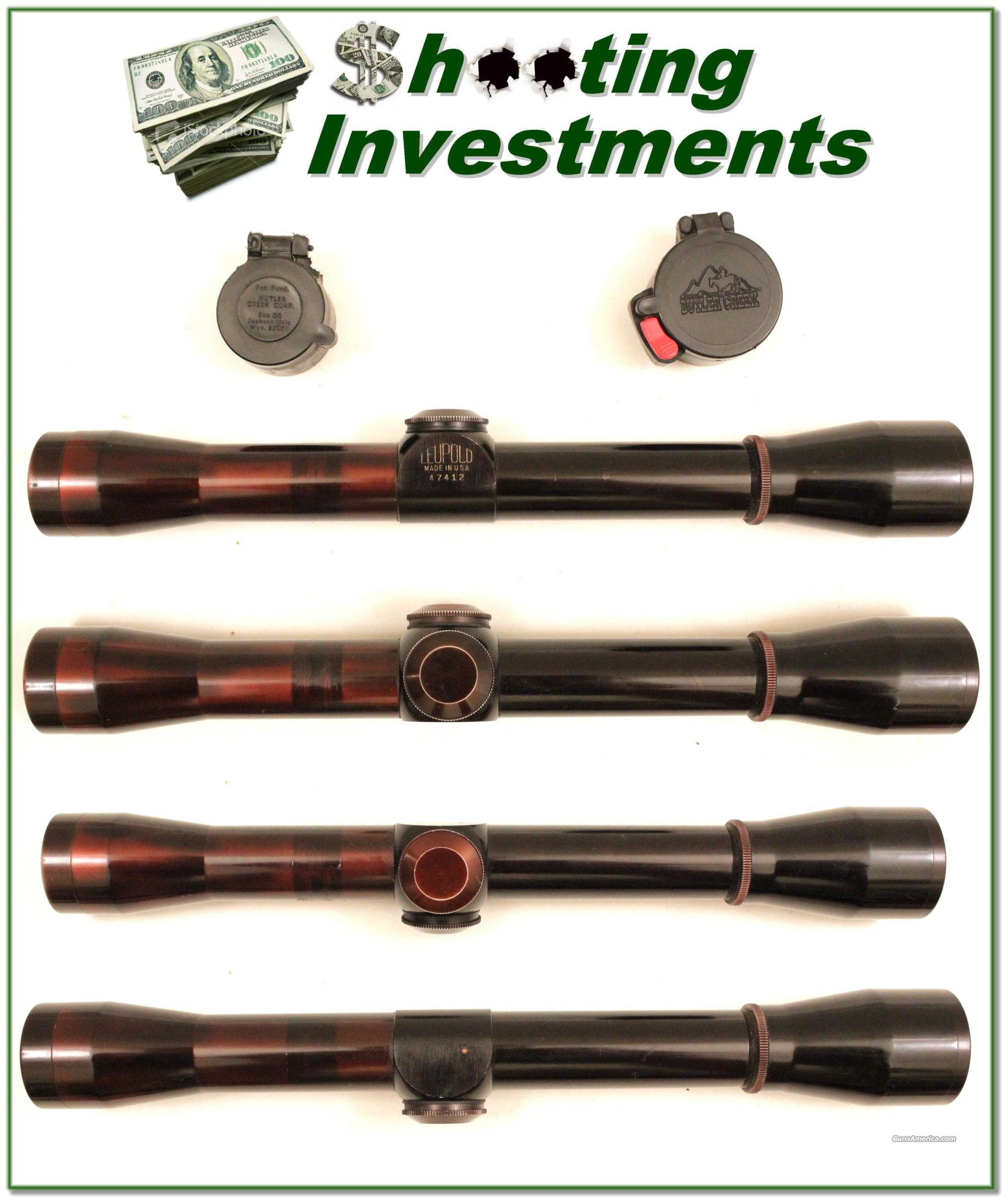 Leupold vintage 4X scope with flip open covers  Non-Guns > Scopes/Mounts/Rings & Optics > Rifle Scopes > Variable Focal Length