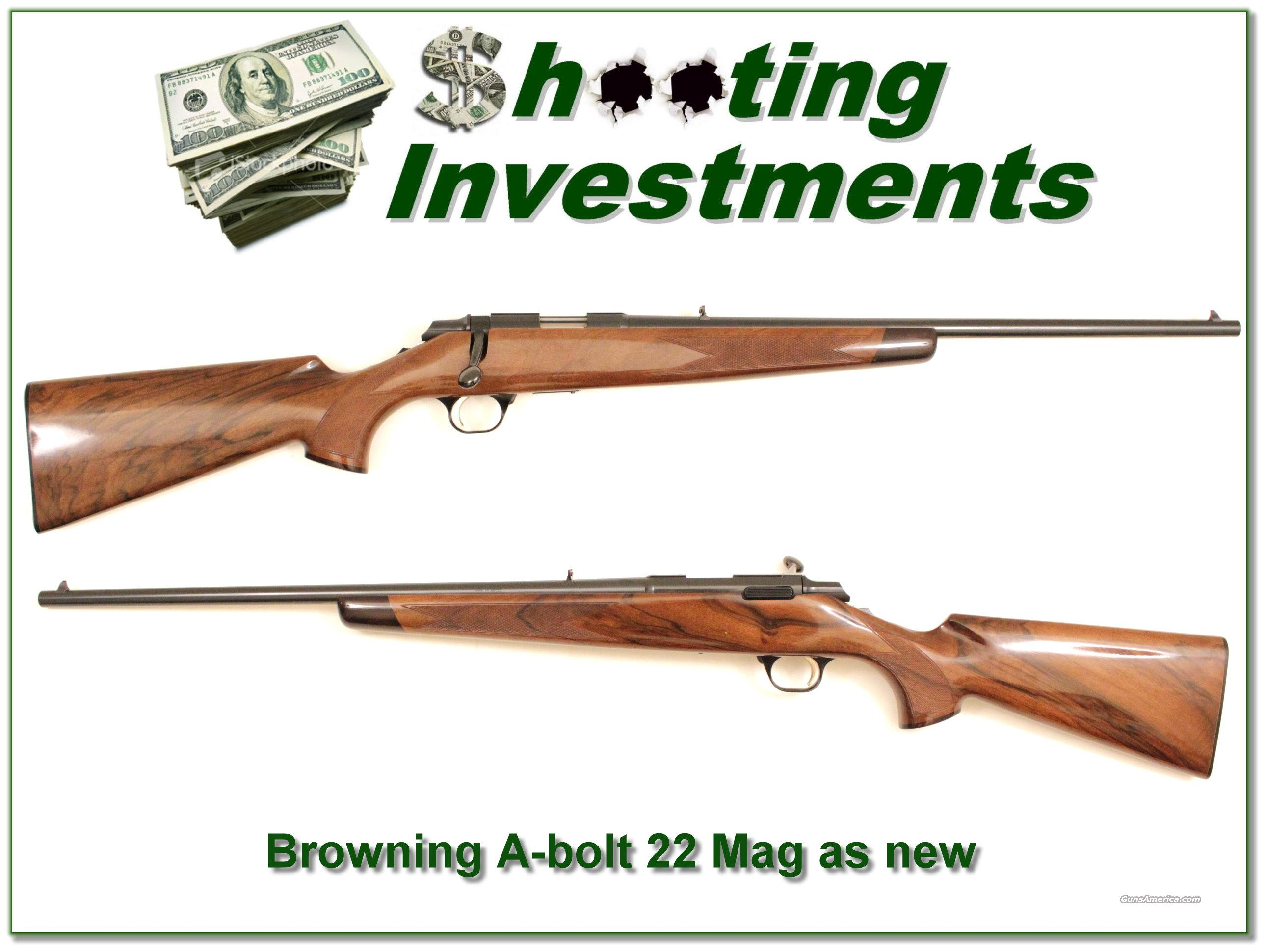 Browning A-bolt 22 Magnum XX Wood!  Guns > Rifles > Browning Rifles > Bolt Action > Hunting > Blue