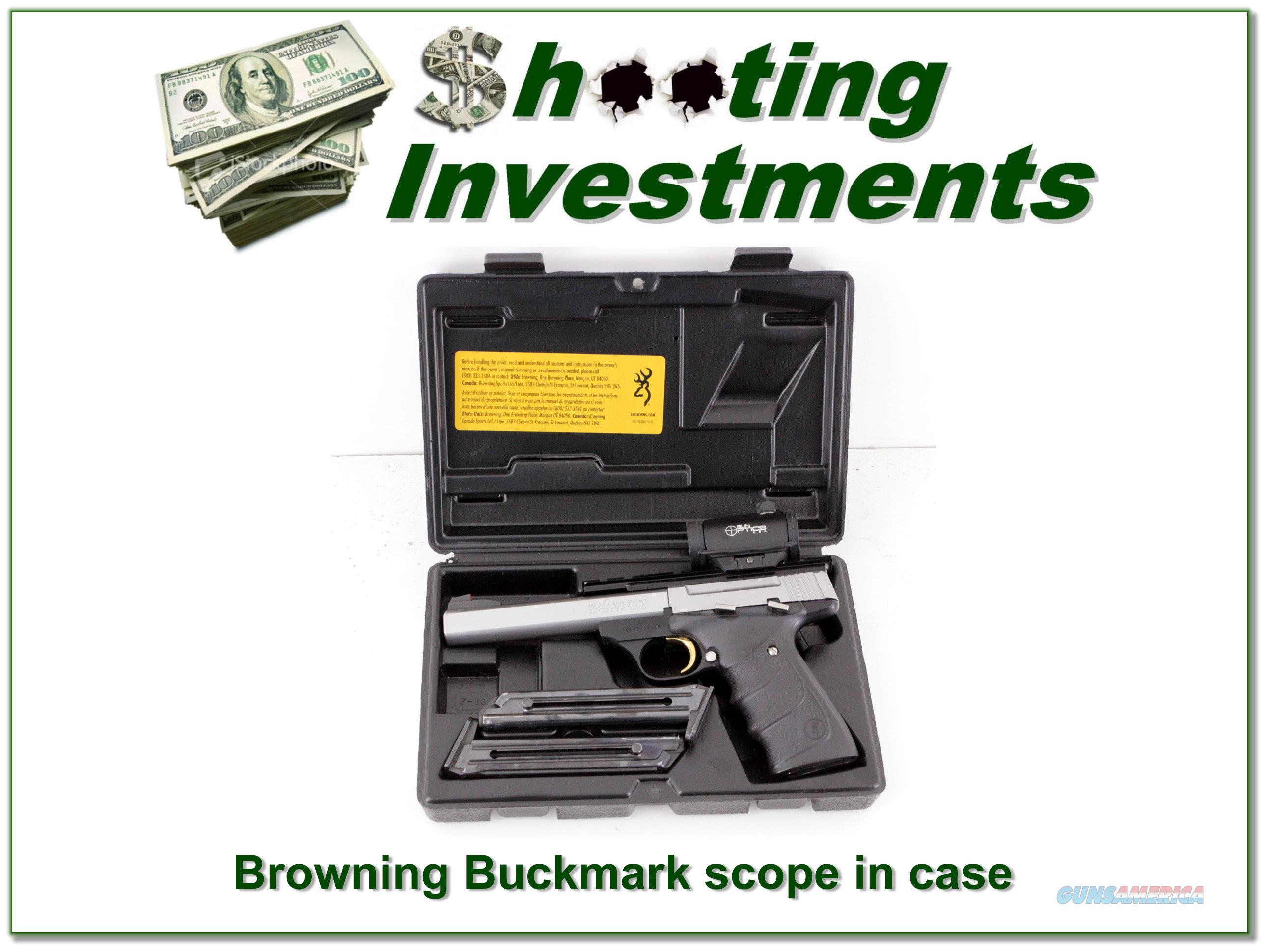 Browning Buck Mark 5.5in stainless target barrel scope  Guns > Pistols > Browning Pistols > Buckmark