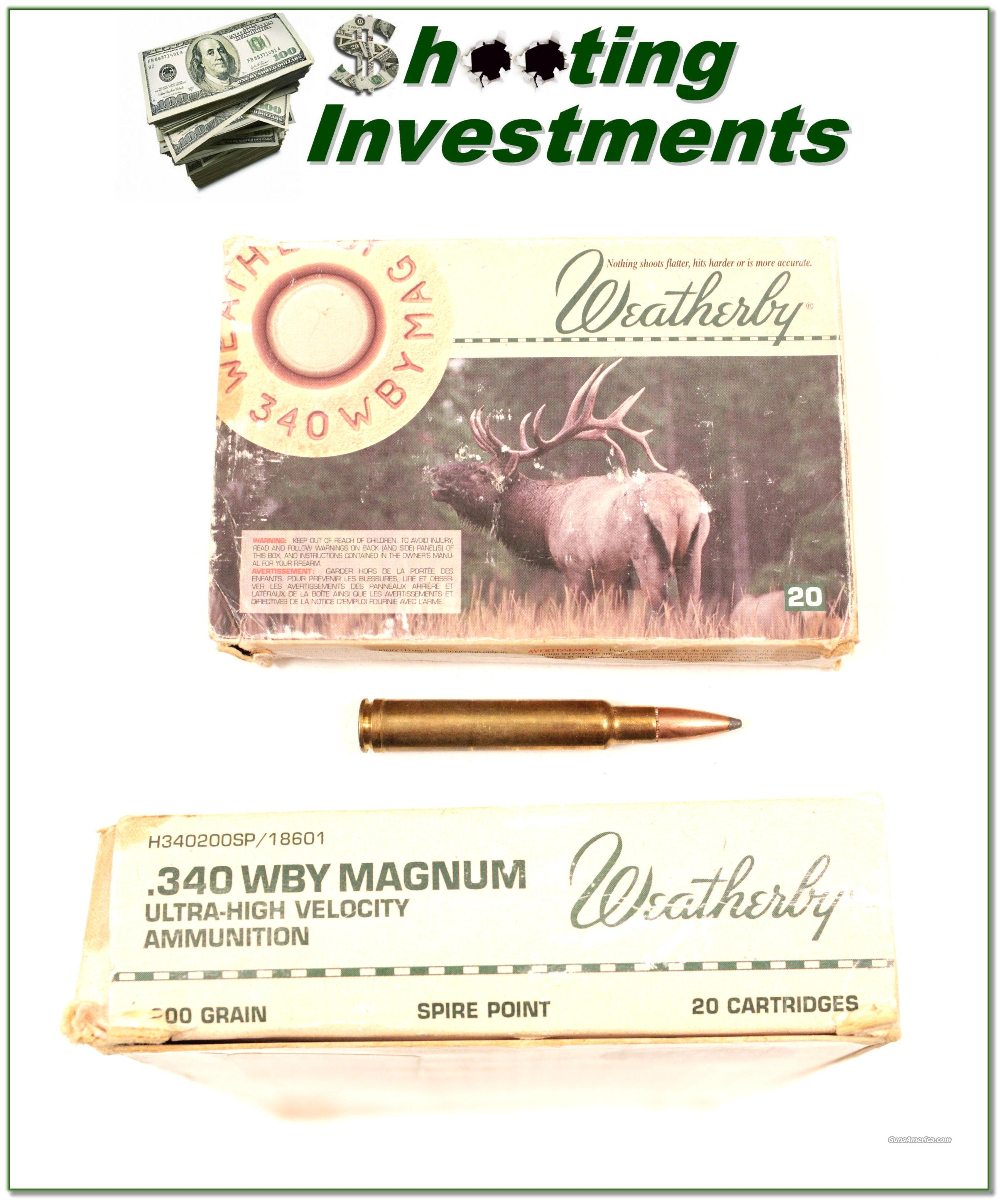 Weatherby factory loaded ammo 340 Wthy 200 grain  Non-Guns > Ammunition