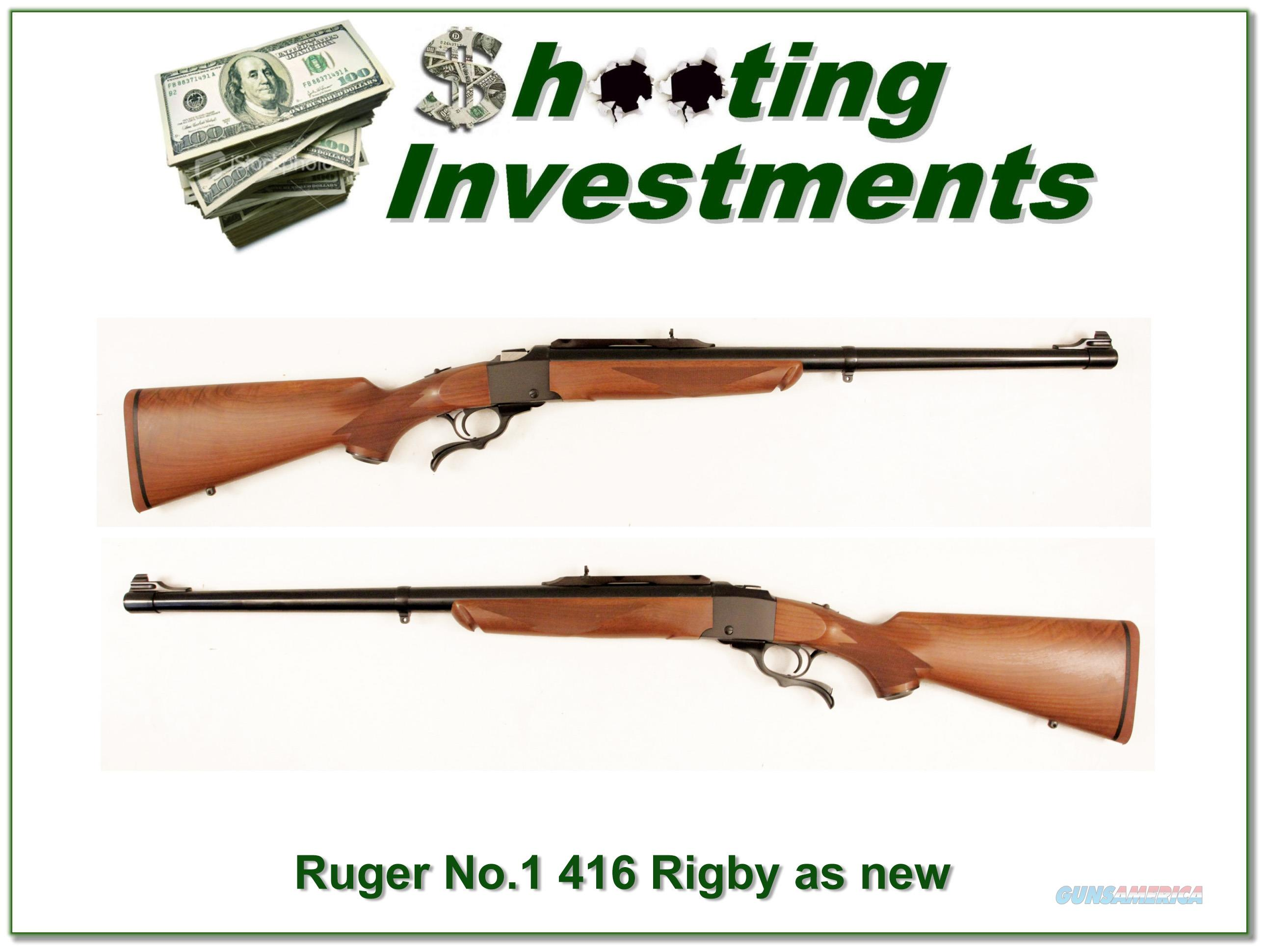 Ruger No. 1 in 416 Rigby as new!  Guns > Rifles > Ruger Rifles > #1 Type