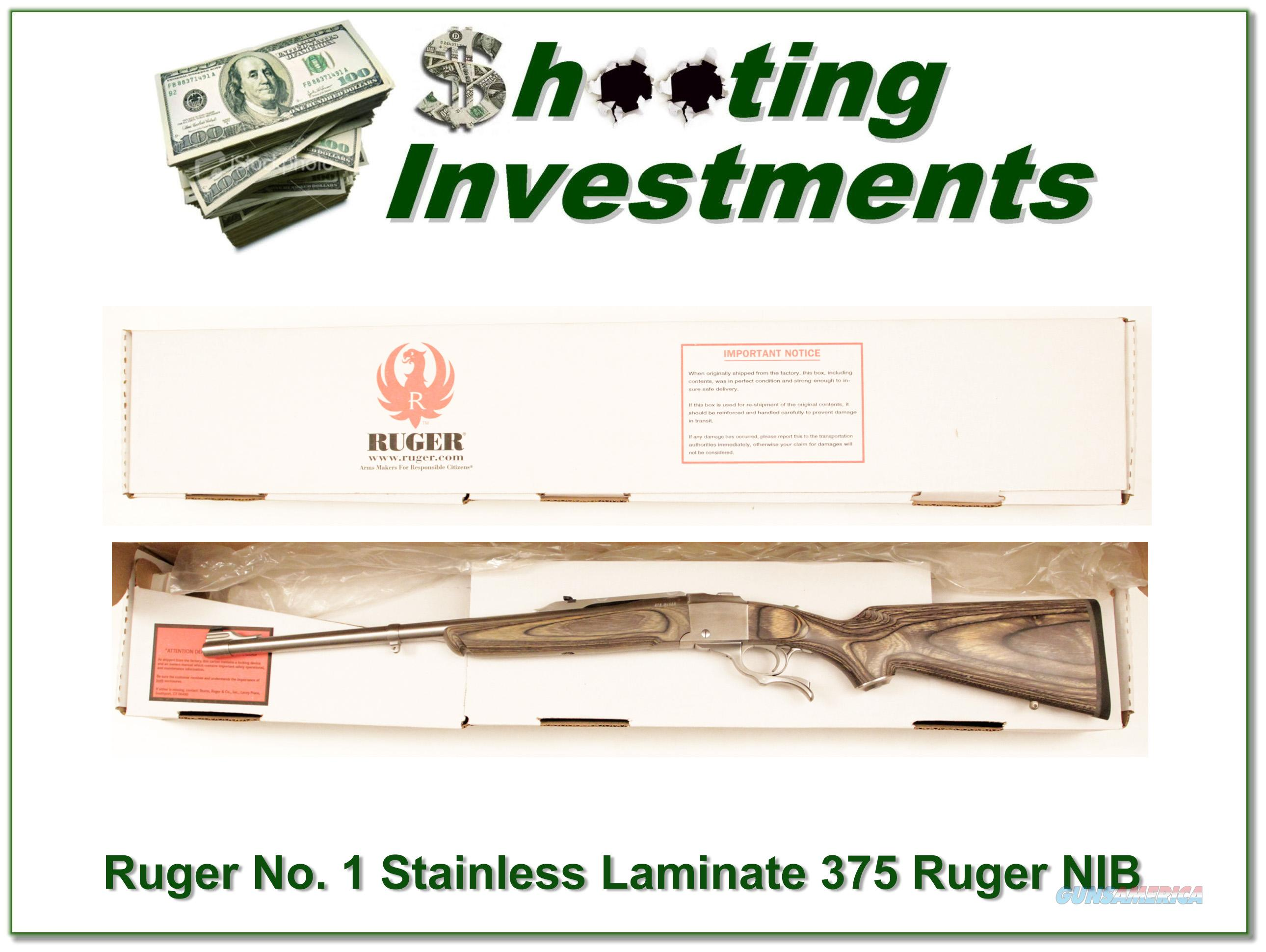 Ruger No. 1 Stainless Laminated 375 Ruger NIB!  Guns > Rifles > Ruger Rifles > #1 Type
