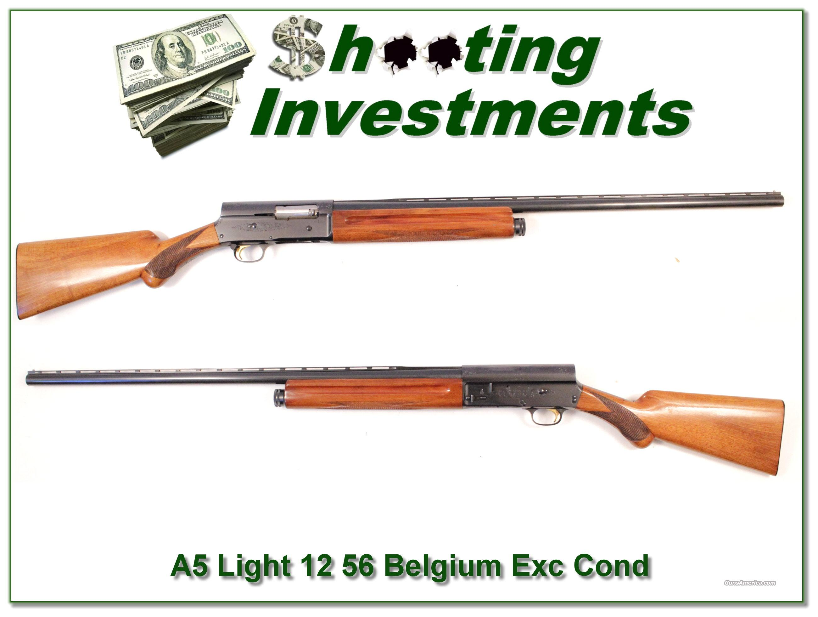 Browning A5 Light 12 56 Belgium Exc Cond  Guns > Shotguns > Browning Shotguns > Autoloaders > Hunting