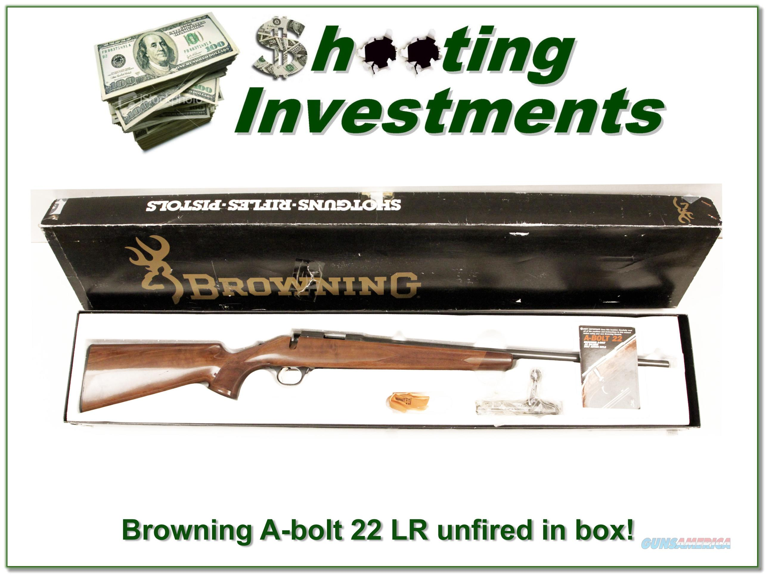 Browning A-bolt 22 LR unfired in box!  Guns > Rifles > Browning Rifles > Bolt Action > Hunting > Blue