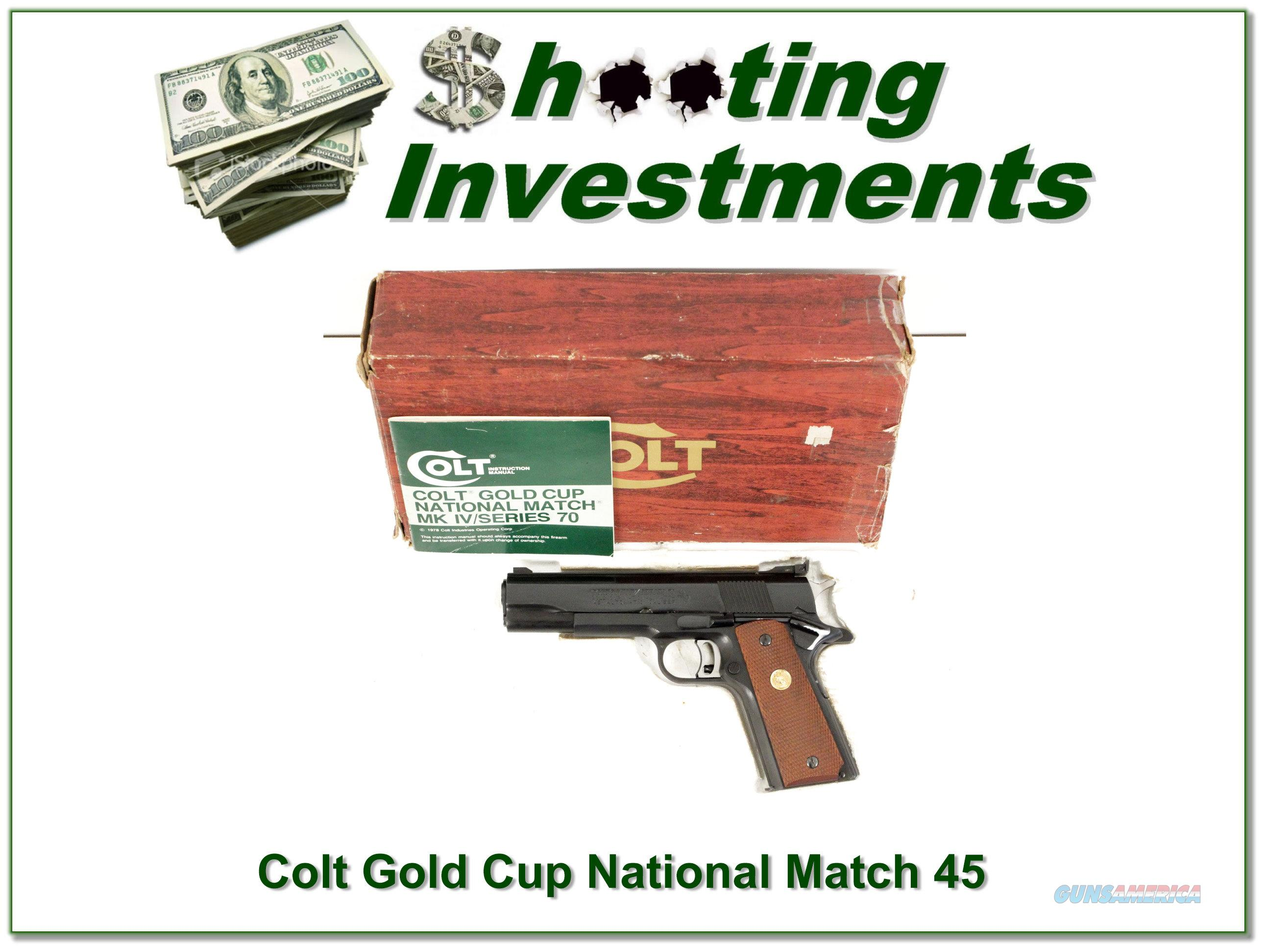 Colt Gold Cup Nation Match Mark IV Series 70 ANIB  Guns > Pistols > Colt Automatic Pistols (.25, .32, & .380 cal)