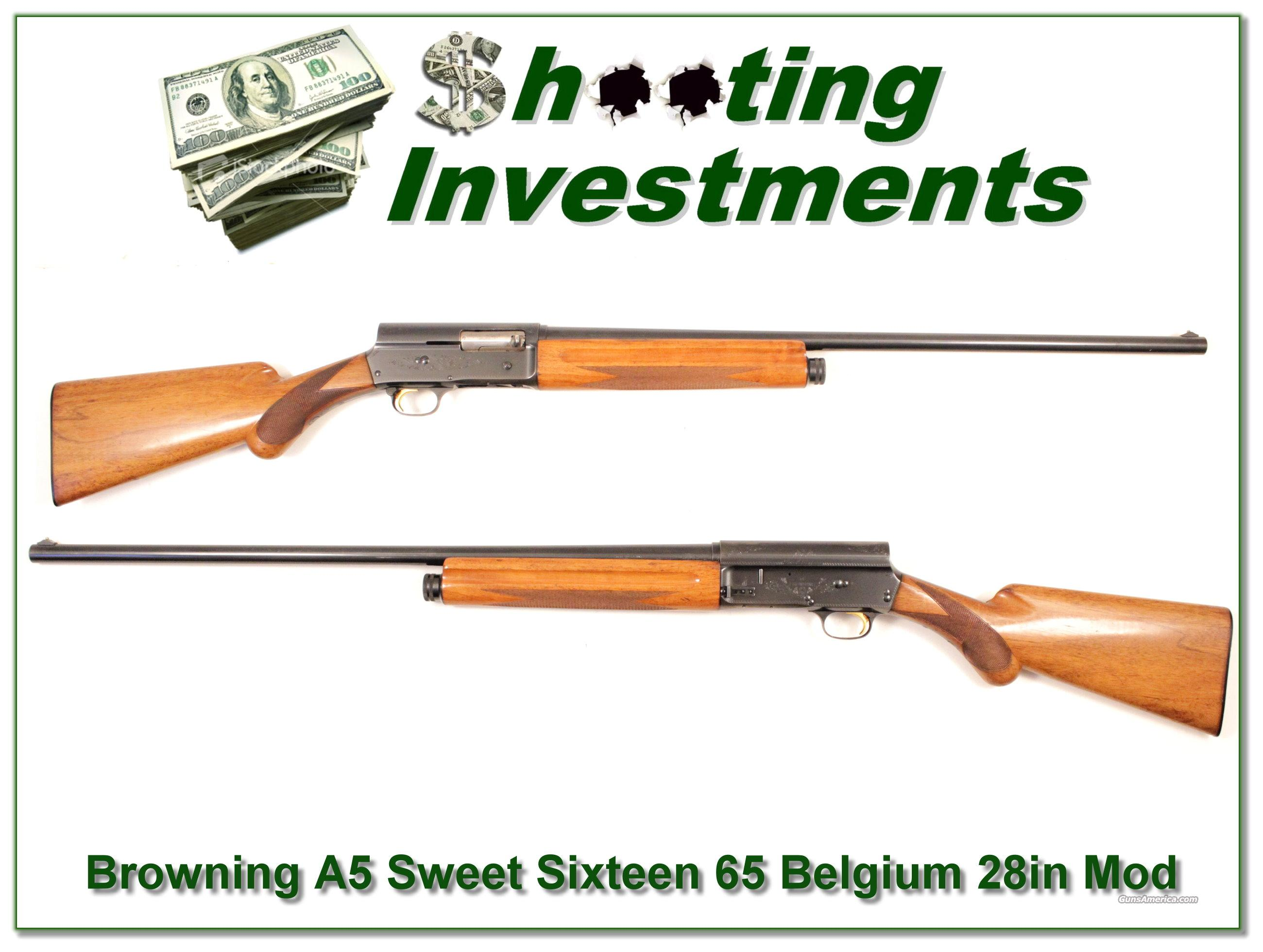 Browning A5 Sweet Sixteen 65 Belgium 28in Mod  Browning, shotgun, semi-auto, 16  Guns > Shotguns > Browning Shotguns > Autoloaders > Hunting