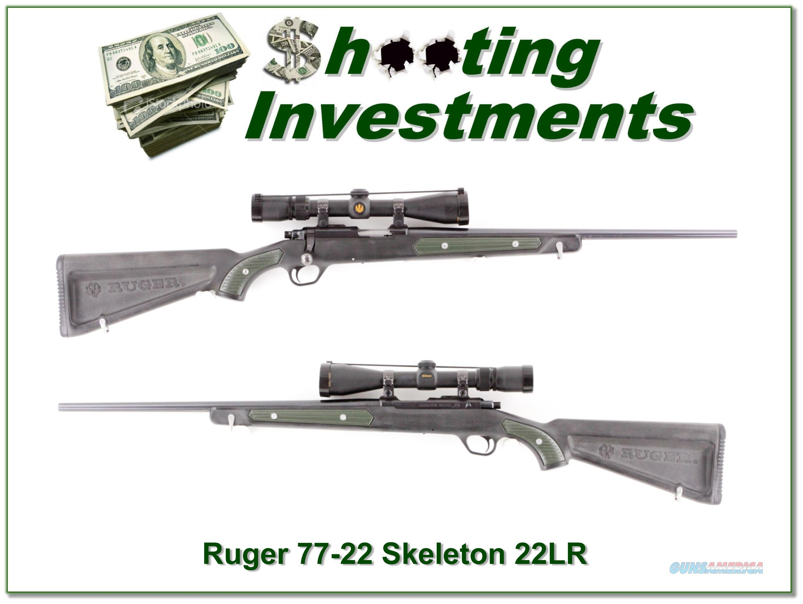 """Ruger 77/22 """"Skeleton"""" Zytel stock green insert Nikon scope  Guns > Rifles > Ruger Rifles > Model 77"""