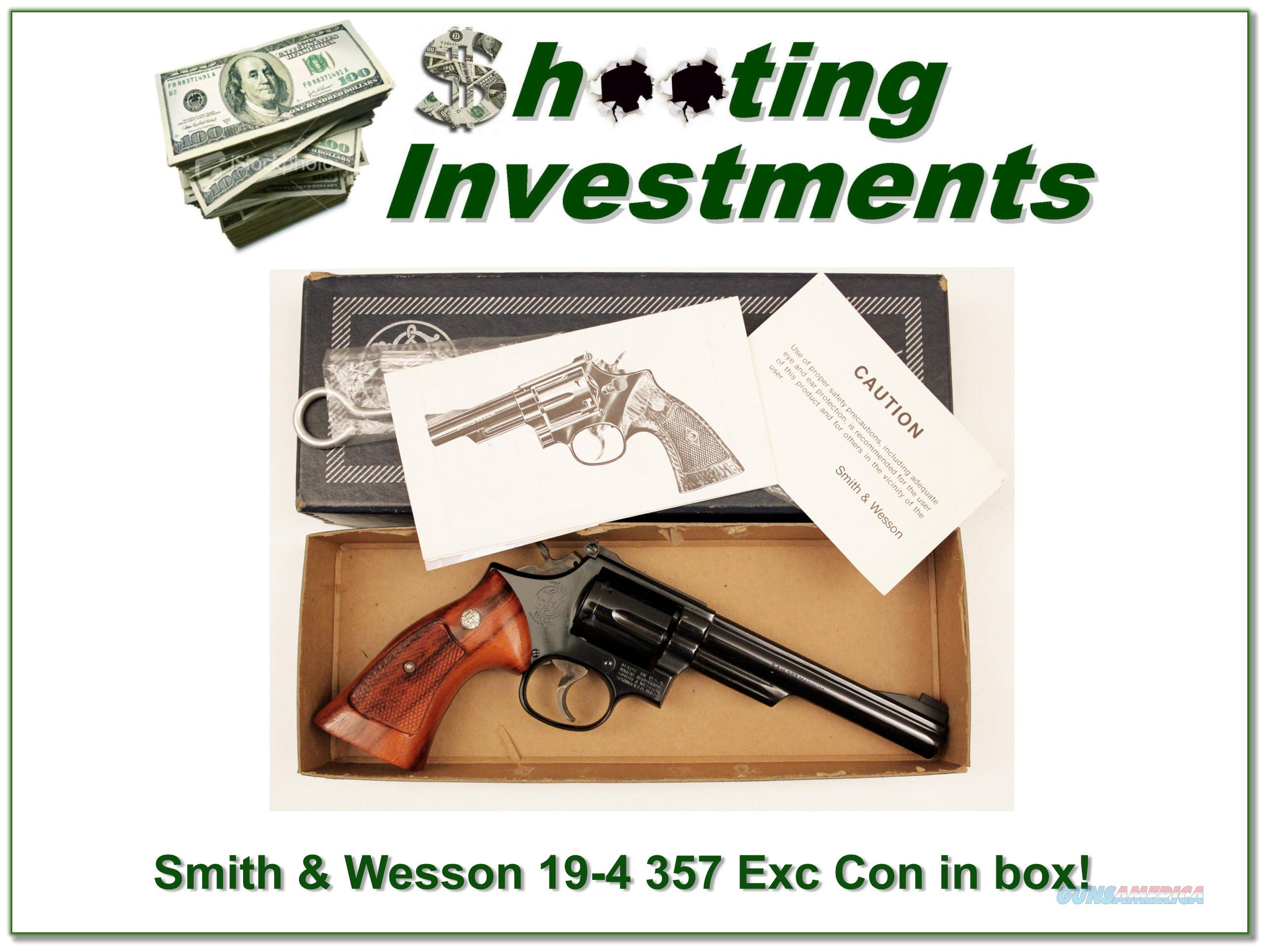 Smith & Wesson Model 19-4 357 Mag 6in Outstanding in box with papers!  Guns > Pistols > Smith & Wesson Revolvers > Full Frame Revolver