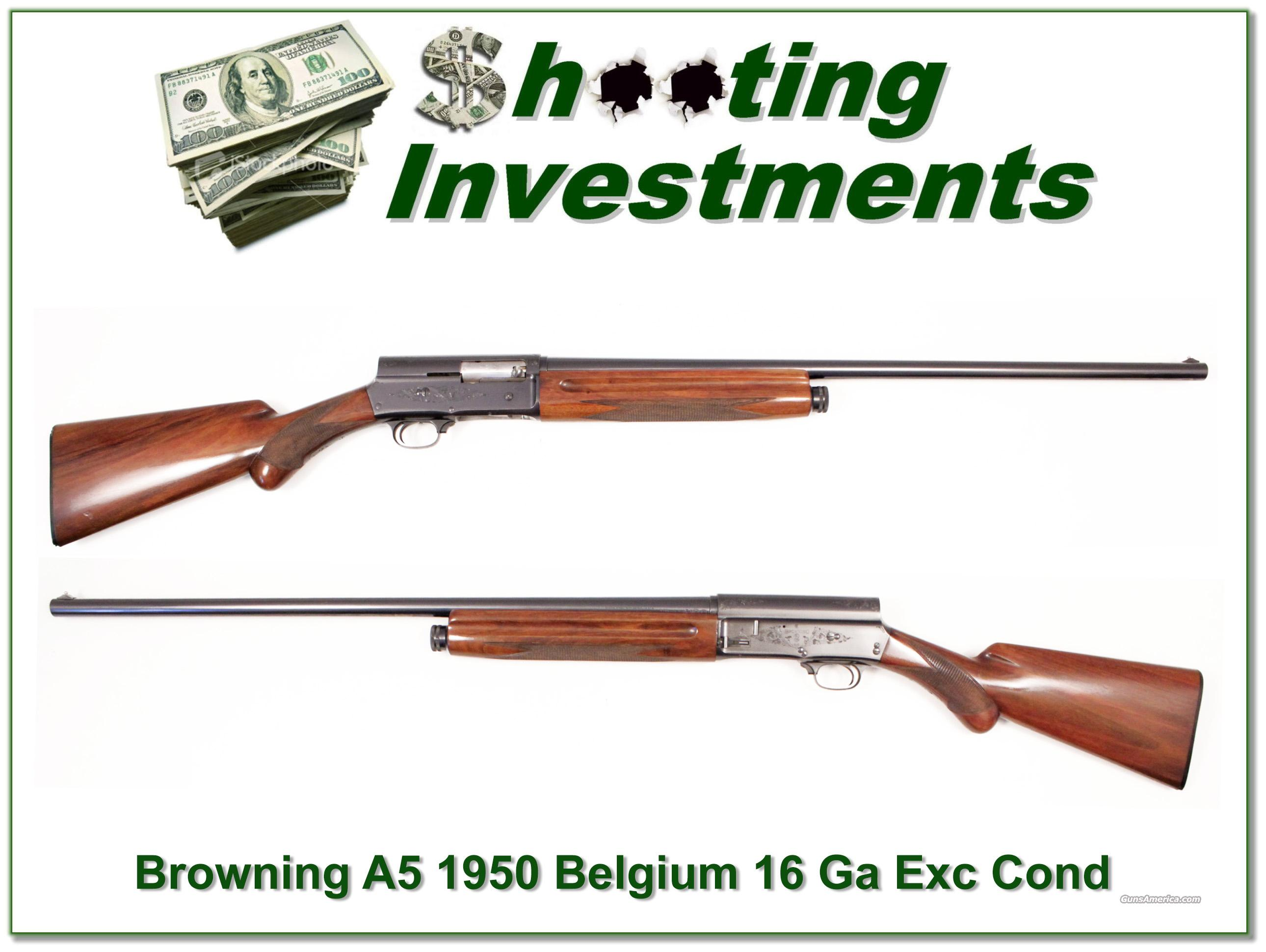 Browning A5 16 gauge 1950 Belgium Exc Cond  Guns > Shotguns > Browning Shotguns > Autoloaders > Hunting