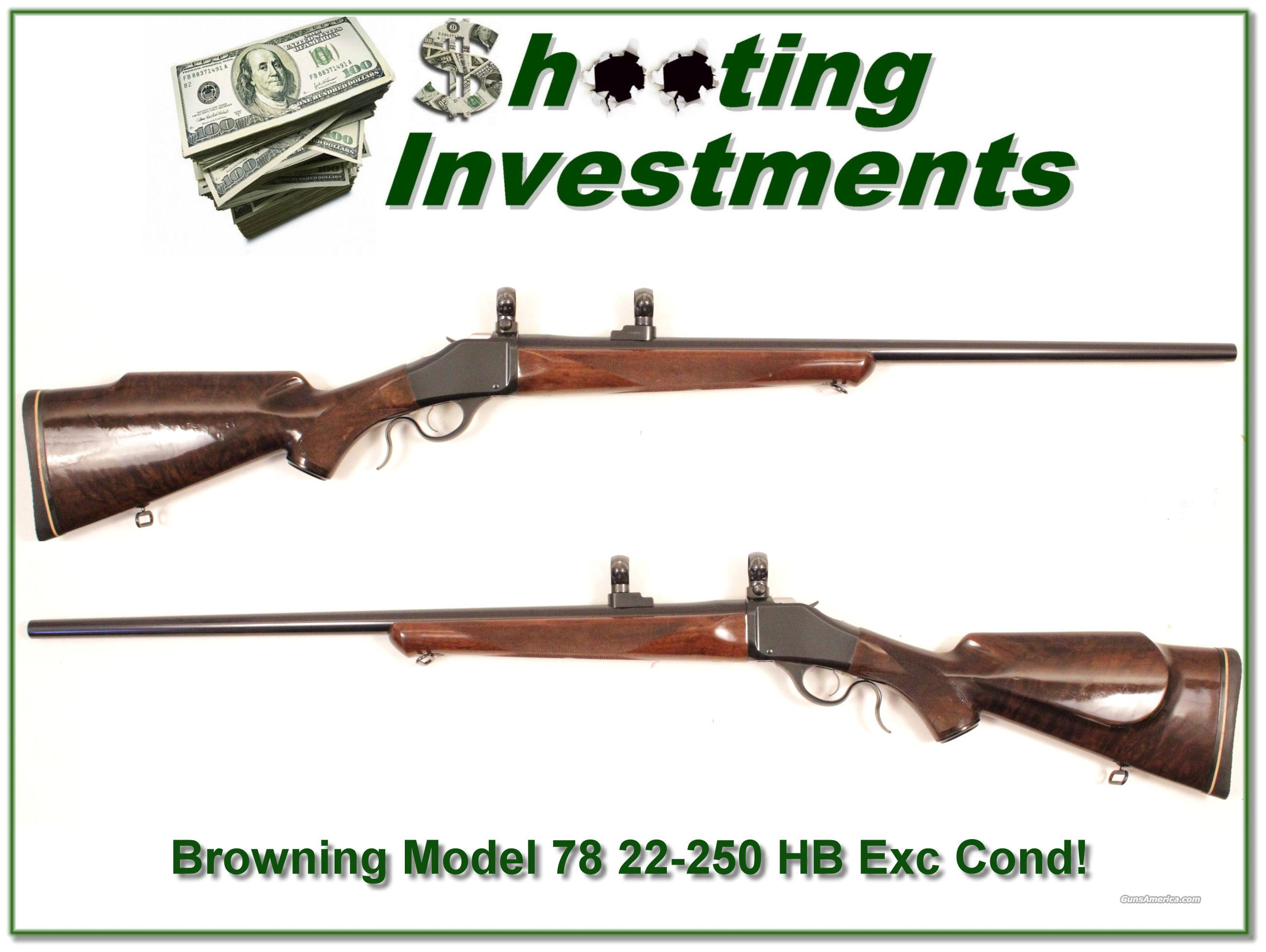 Browning Model 78 Heavy Barrel 22-250 Exc Cond!  Guns > Rifles > Browning Rifles > Singe Shot
