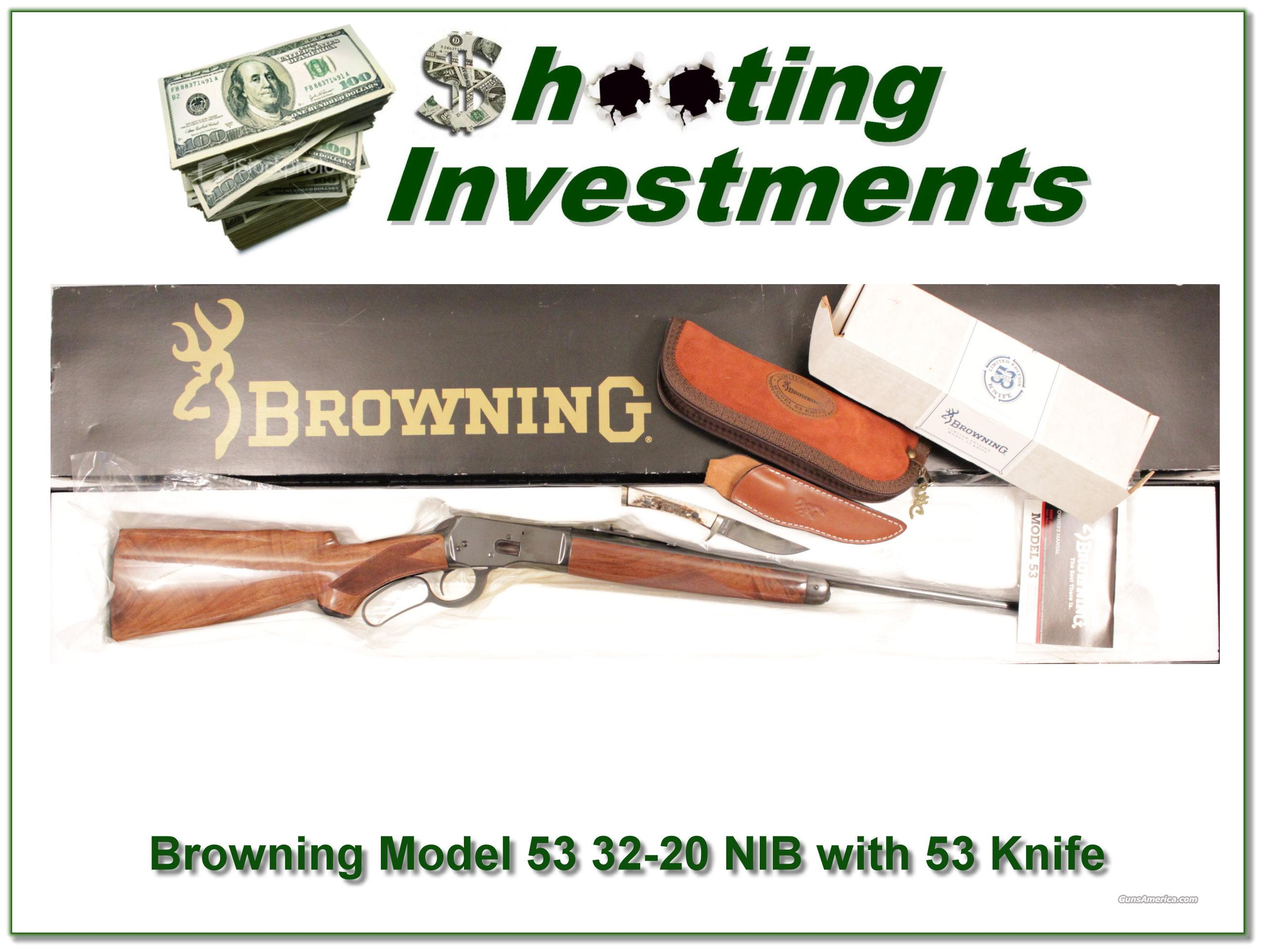 Browning Model 53 32-20 NIB with Browning 53 Knife!  Guns > Rifles > Browning Rifles > Lever Action