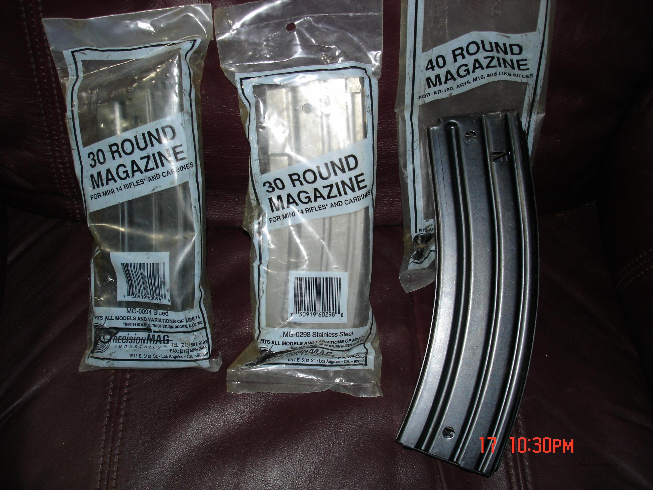 Ruger Mini-14 HIGH-CAPACITY 40-rd. .223 Blued Steel Magazines (Made by PrecisionMAG)  Non-Guns > Magazines & Clips > Rifle Magazines > Mini 14