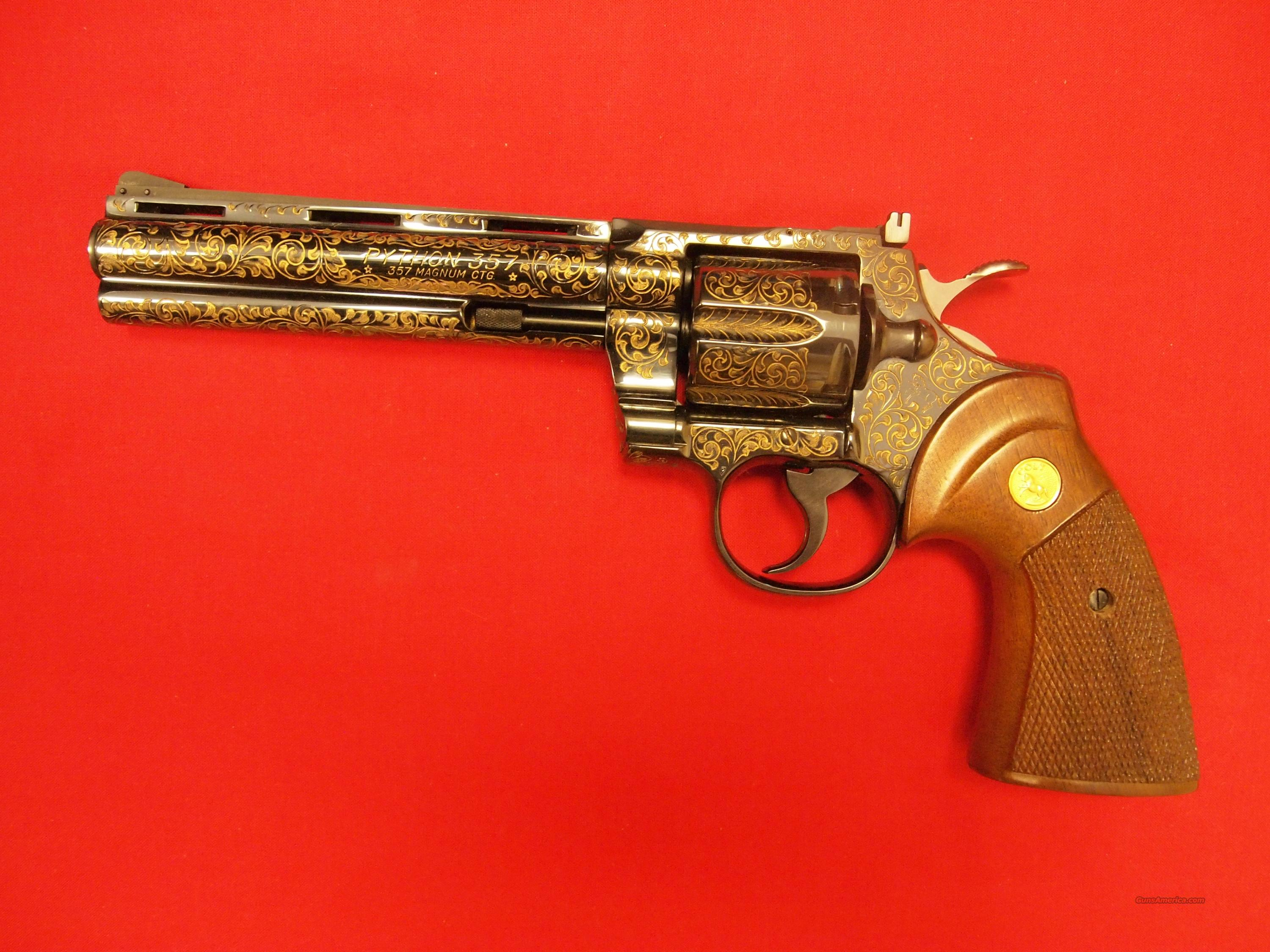 "Colt Python 6"" .357 Mag Factory Engraved  Guns > Pistols > Colt Double Action Revolvers- Modern"