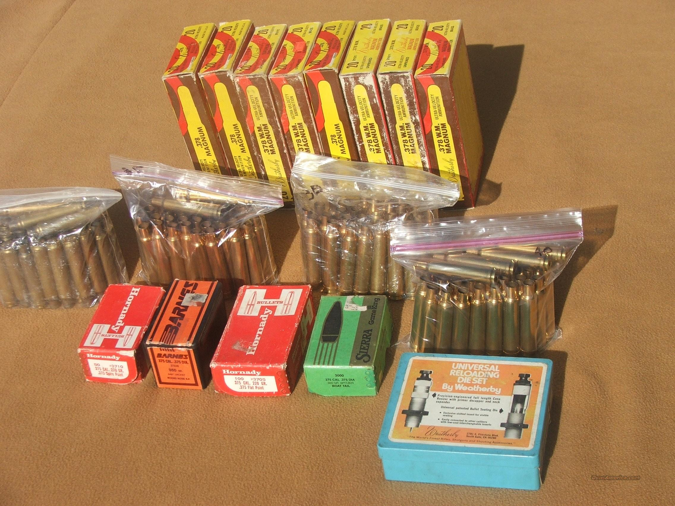Weatherby 378 brass, bullets, dies  Non-Guns > Reloading > Components > Brass