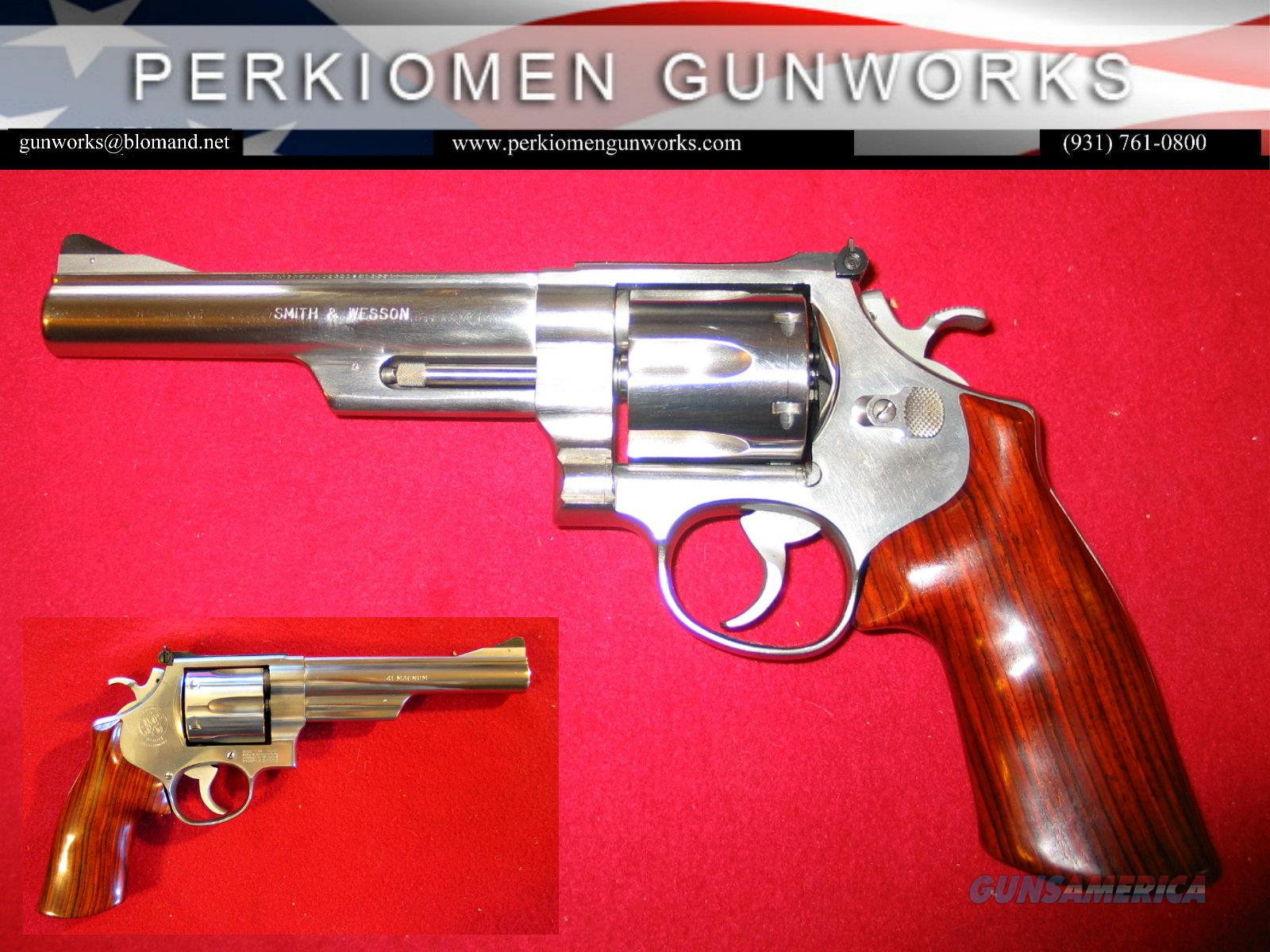 """657 """"The .41 Magnum Stainless"""" 6 inch HB, .41 mag,  Guns > Pistols > Smith & Wesson Revolvers > Full Frame Revolver"""