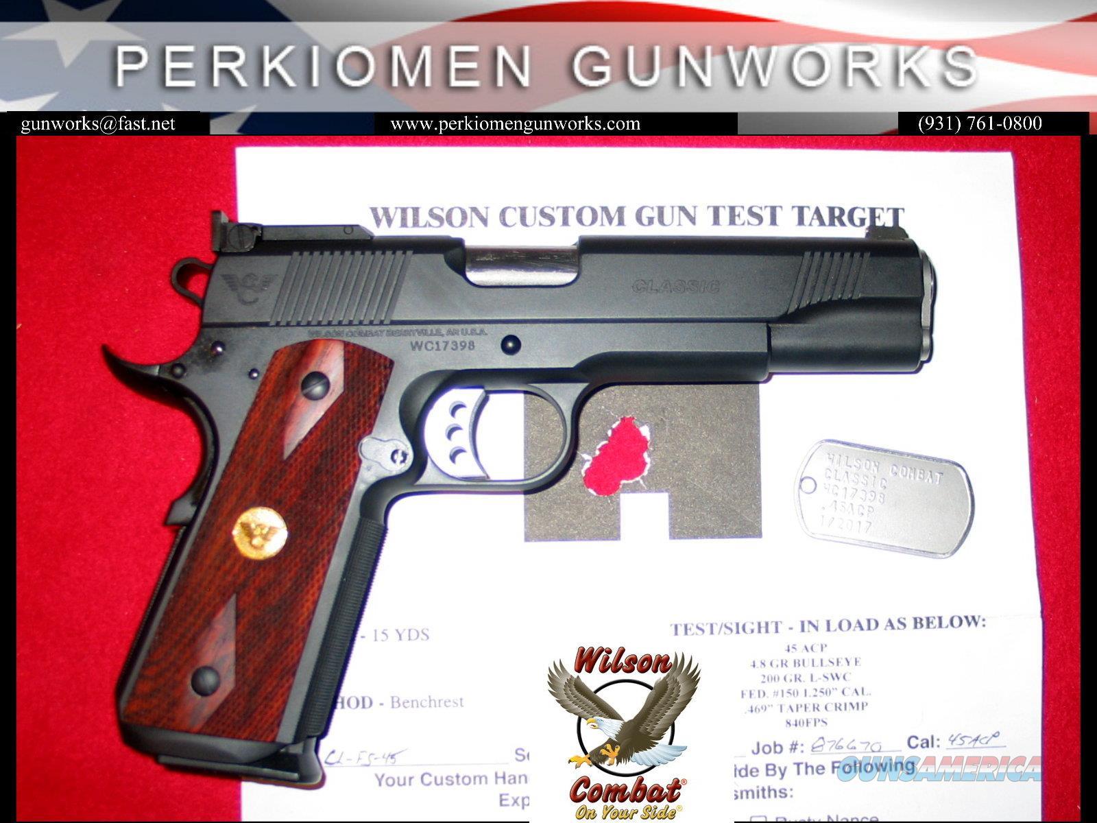 Classic .45acp, full size 1911, Dlx Blue, Double Diamond grips w-Gold Medallions, NIB  Guns > Pistols > Wilson Combat Pistols