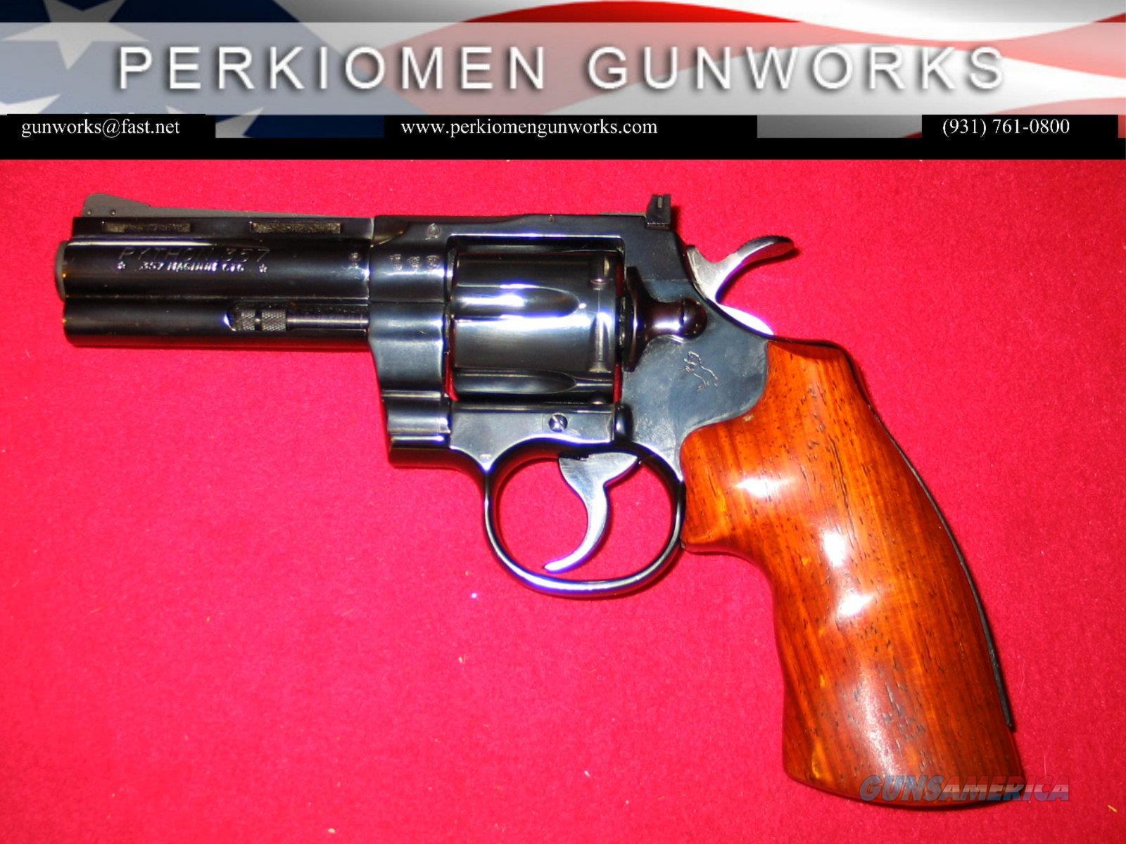 Python 4 inch, blue w/German Proofs  Guns > Pistols > Colt Double Action Revolvers- Modern