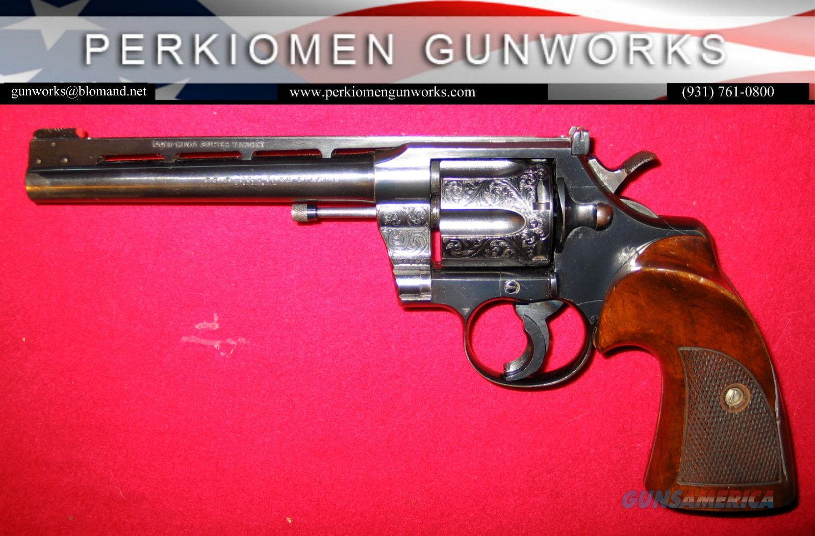 King Super Target Official Police Model .38 Special - Engraved  Guns > Pistols > Colt Double Action Revolvers- Modern